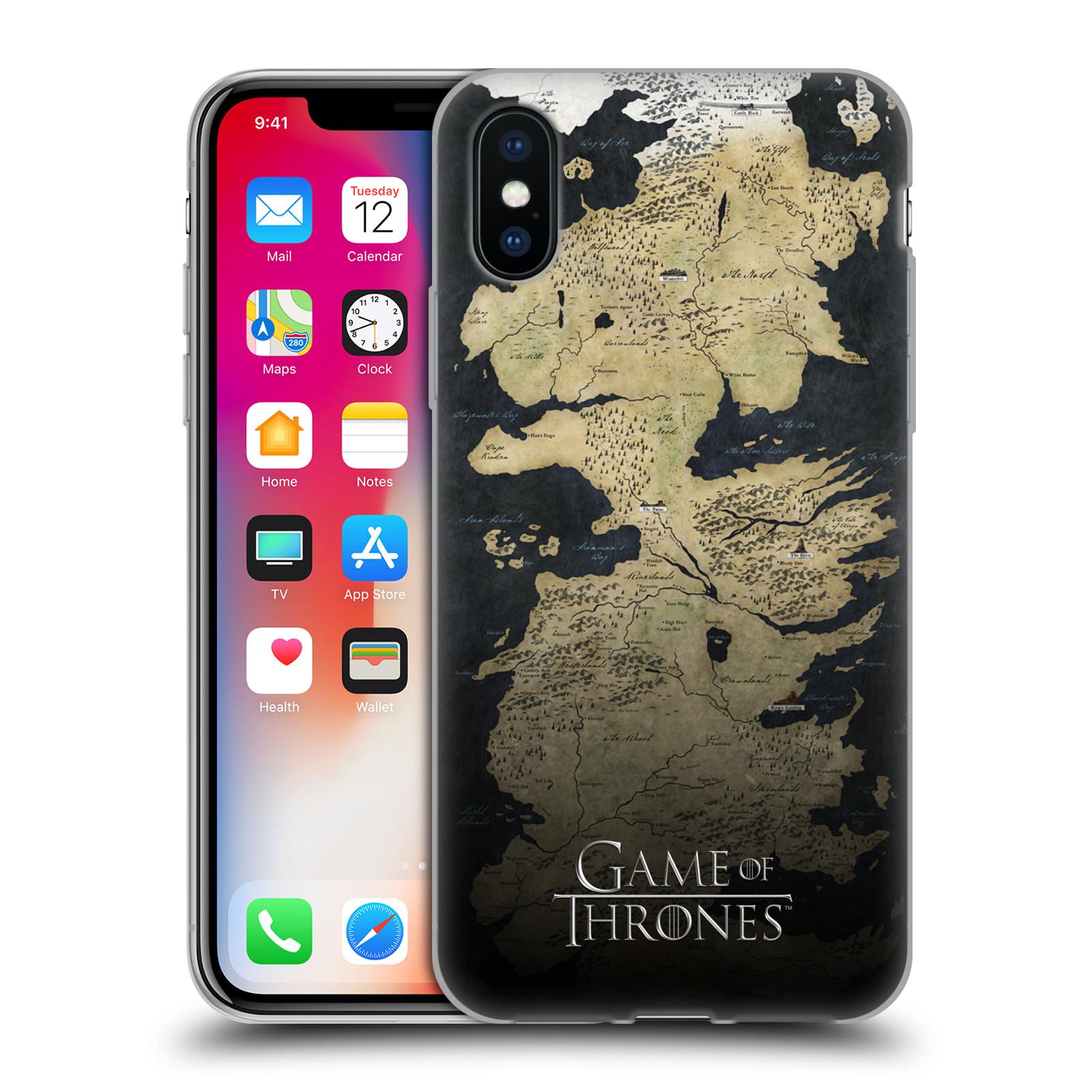 Silikonové pouzdro na mobil Apple iPhone X - Head Case - Hra o trůny - Mapa  západozemí 2ac355eed71