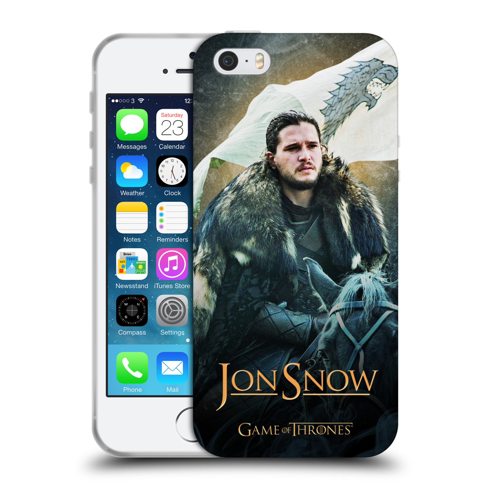 Silikonové pouzdro na mobil Apple iPhone 5, 5S, SE - Head Case - Hra o trůny - Jon Snow na koni