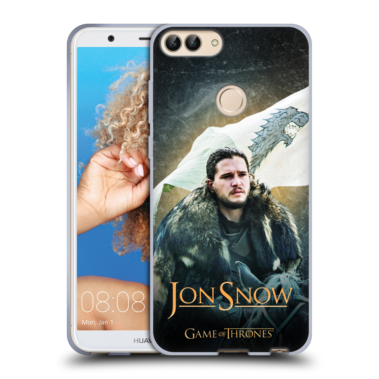 Silikonové pouzdro na mobil Huawei P Smart - Head Case - Hra o trůny - Jon Snow na koni