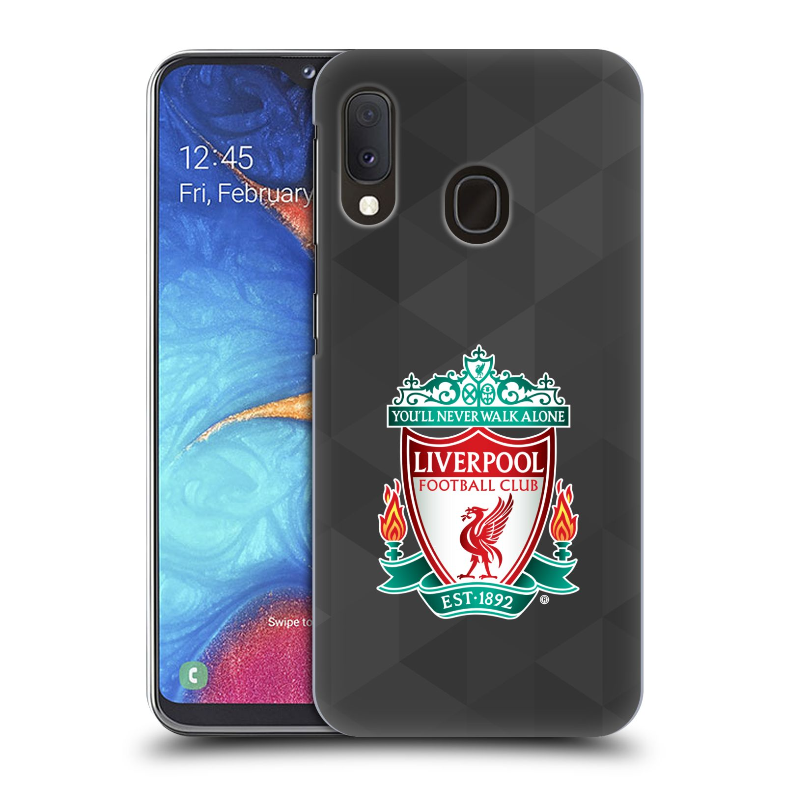 Plastové pouzdro na mobil Samsung Galaxy A20e - Head Case - ZNAK LIVERPOOL FC OFFICIAL GEOMETRIC BLACK