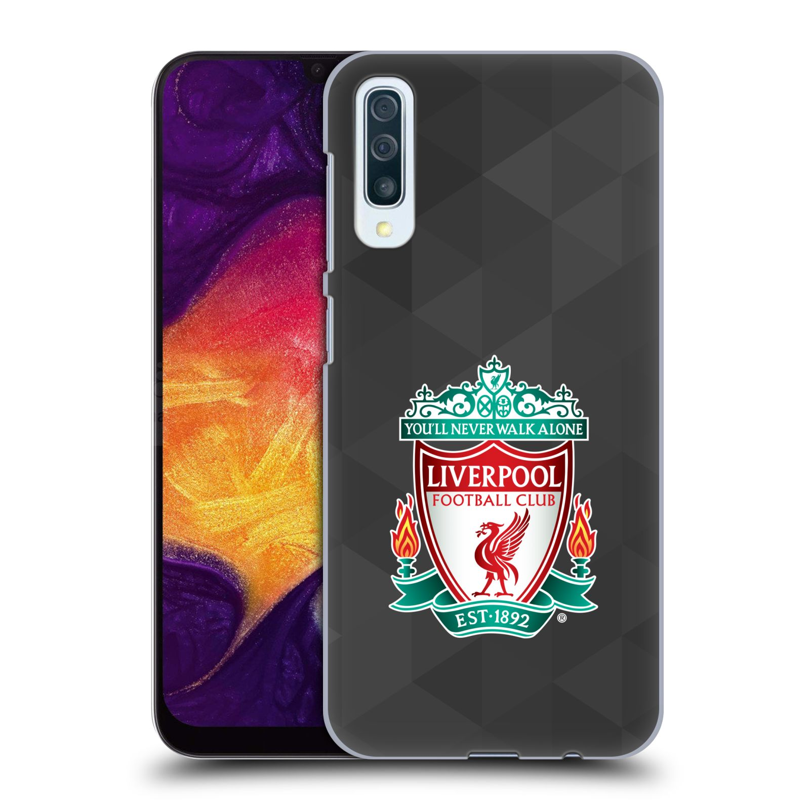 Plastové pouzdro na mobil Samsung Galaxy A50 - Head Case - ZNAK LIVERPOOL FC OFFICIAL GEOMETRIC BLACK