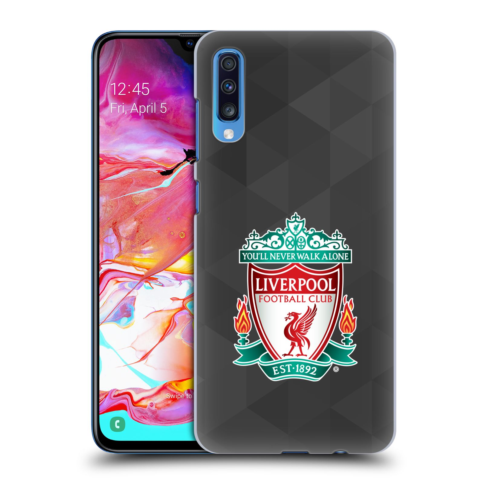 Plastové pouzdro na mobil Samsung Galaxy A70 - Head Case - ZNAK LIVERPOOL FC OFFICIAL GEOMETRIC BLACK