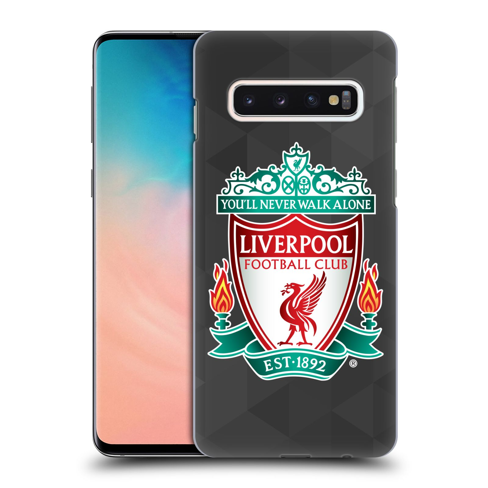 Plastové pouzdro na mobil Samsung Galaxy S10 - Head Case - ZNAK LIVERPOOL FC OFFICIAL GEOMETRIC BLACK