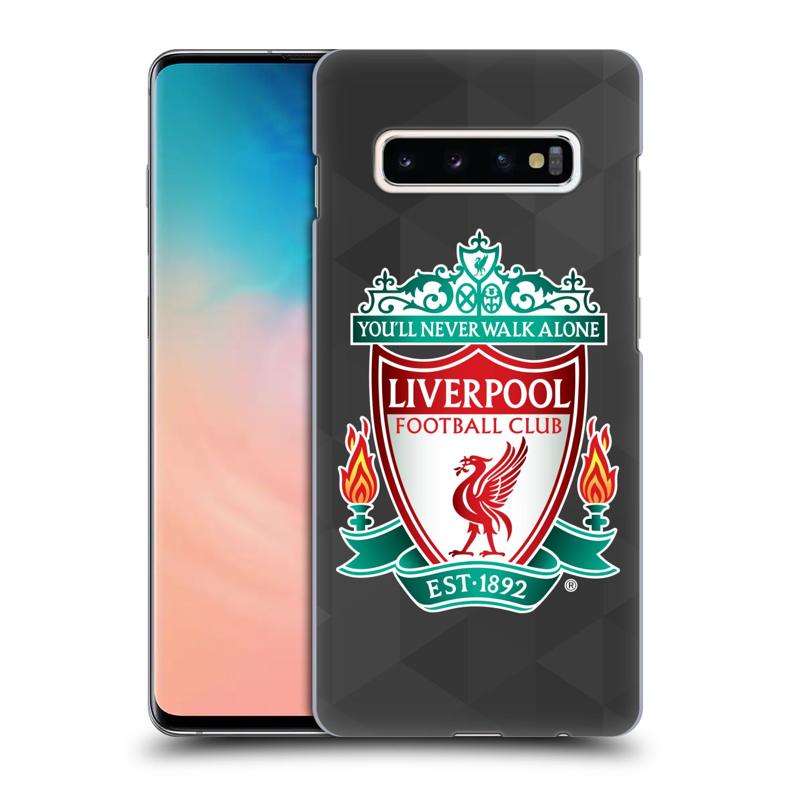 Plastové pouzdro na mobil Samsung Galaxy S10 Plus - Head Case - ZNAK LIVERPOOL FC OFFICIAL GEOMETRIC BLACK