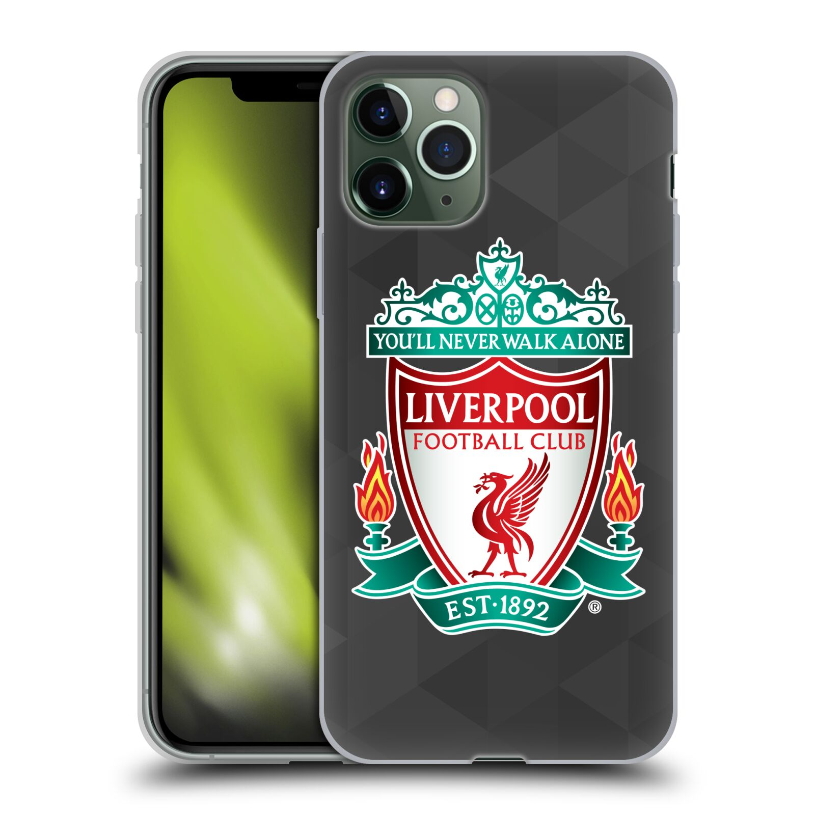 kryt iphone 11 pro , Silikonové pouzdro na mobil Apple iPhone 11 Pro - Head Case - ZNAK LIVERPOOL FC OFFICIAL GEOMETRIC BLACK