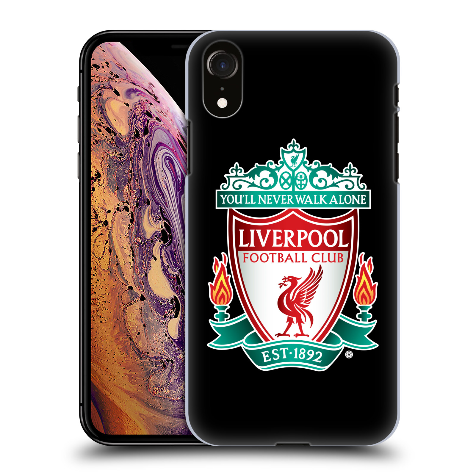 Plastové pouzdro na mobil Apple iPhone XR - Head Case - ZNAK LIVERPOOL FC OFFICIAL BLACK