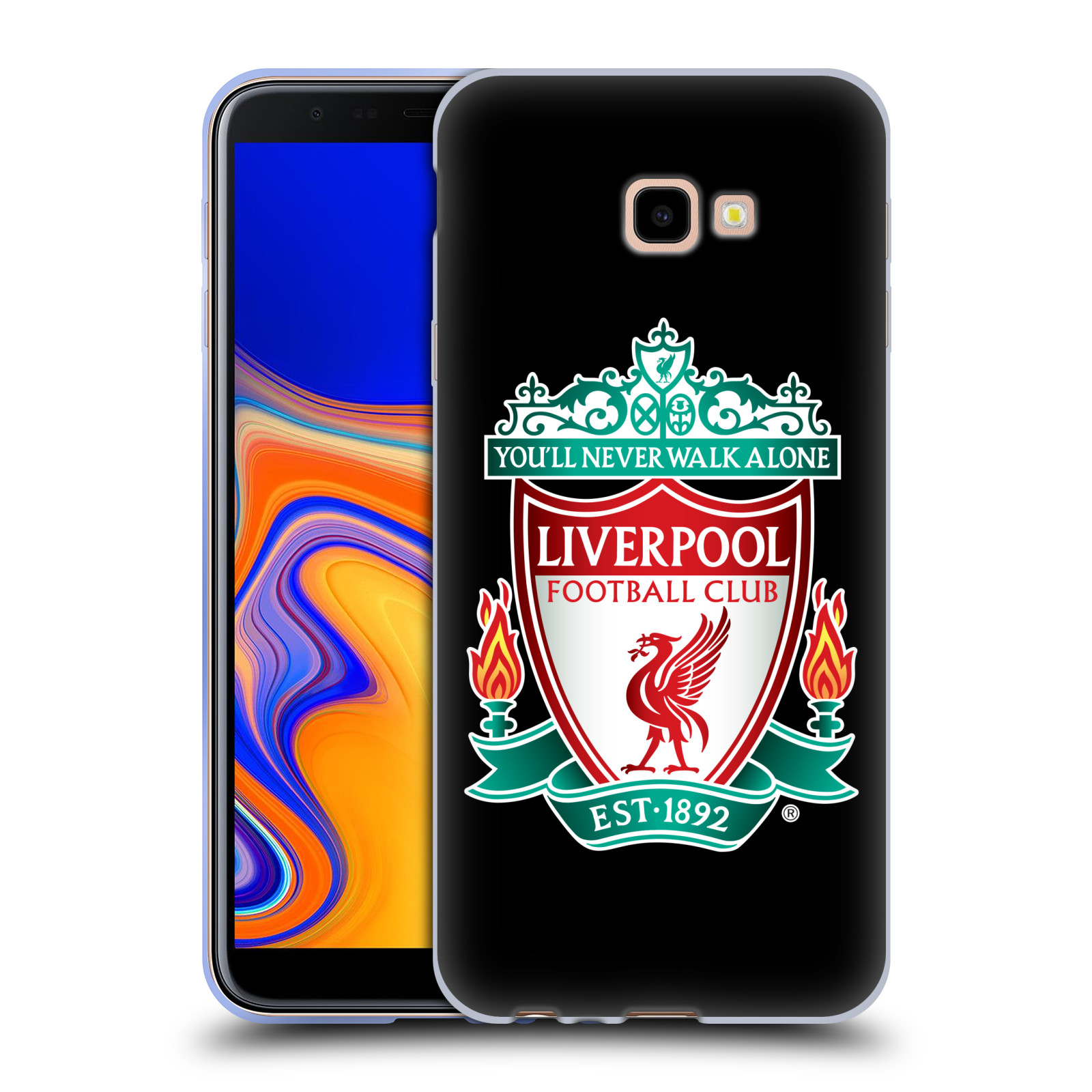 Silikonové pouzdro na mobil Samsung Galaxy J4 Plus - Head Case - ZNAK LIVERPOOL FC OFFICIAL BLACK