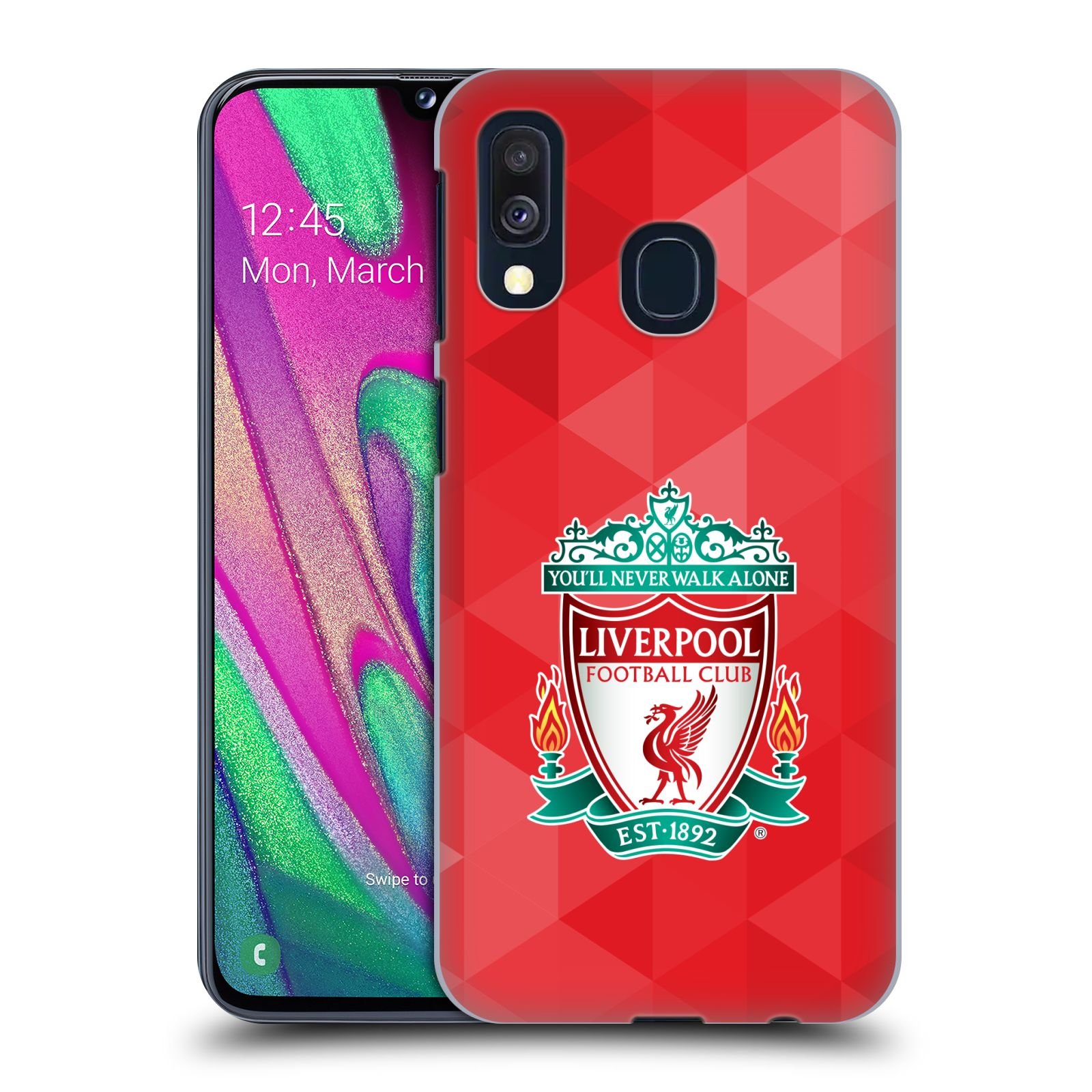 Plastové pouzdro na mobil Samsung Galaxy A40 - Head Case - ZNAK LIVERPOOL FC OFFICIAL GEOMETRIC RED