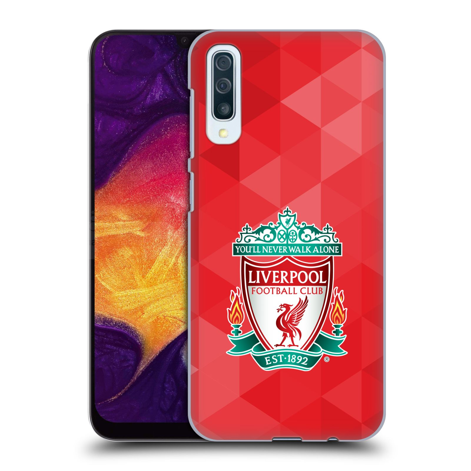 Plastové pouzdro na mobil Samsung Galaxy A50 - Head Case - ZNAK LIVERPOOL FC OFFICIAL GEOMETRIC RED