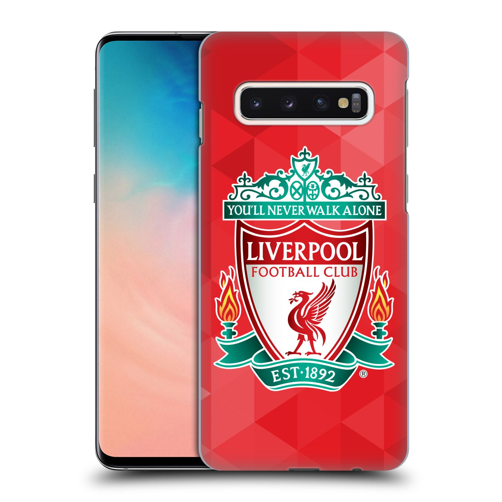 Plastové pouzdro na mobil Samsung Galaxy S10 - Head Case - ZNAK LIVERPOOL FC OFFICIAL GEOMETRIC RED