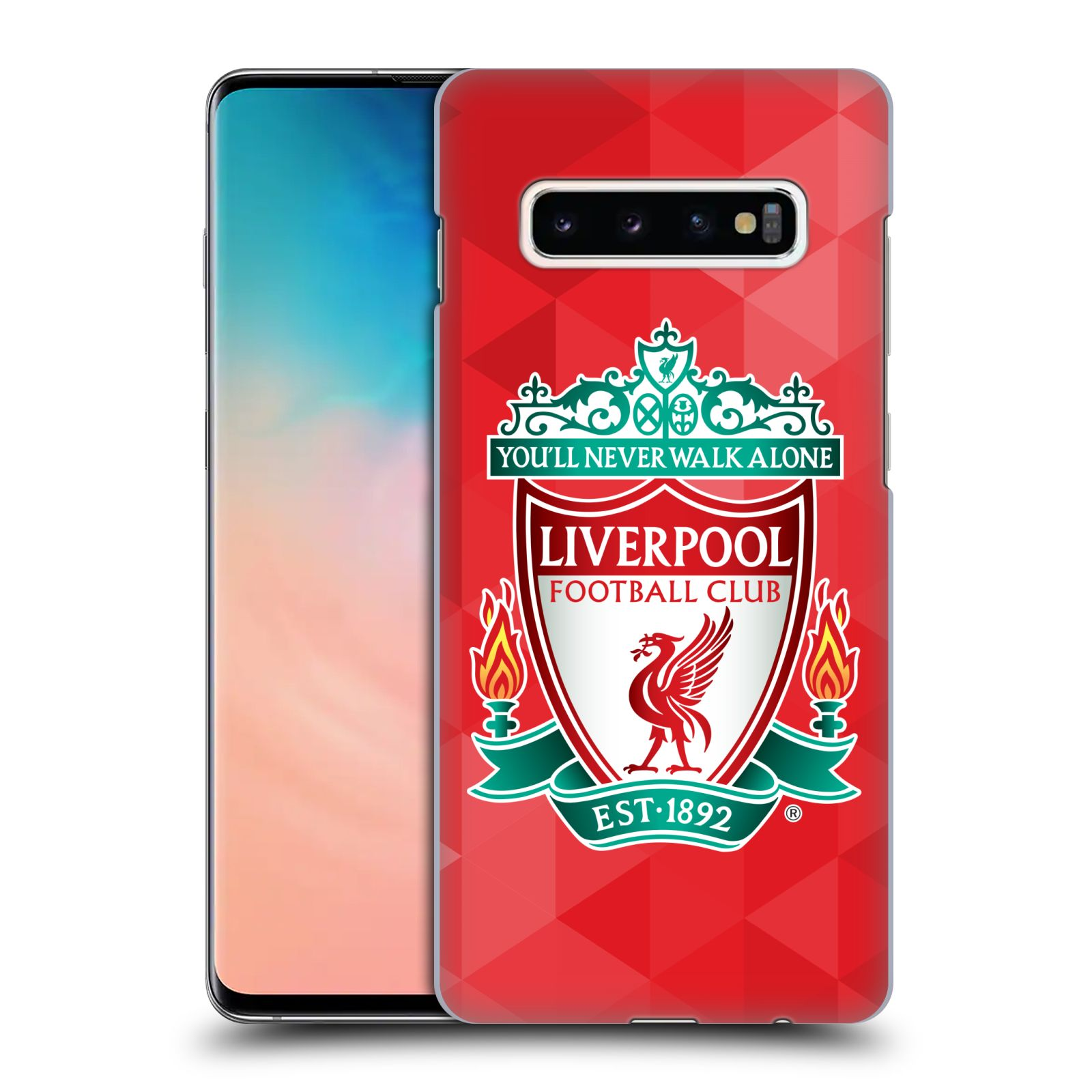 Plastové pouzdro na mobil Samsung Galaxy S10 Plus - Head Case - ZNAK LIVERPOOL FC OFFICIAL GEOMETRIC RED