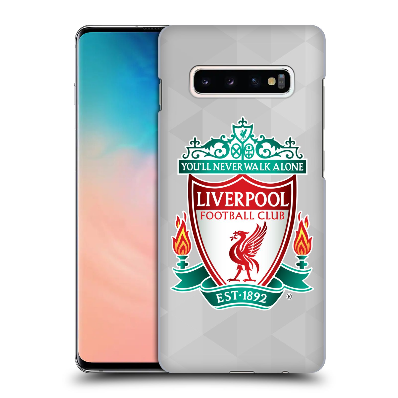 Plastové pouzdro na mobil Samsung Galaxy S10 Plus - Head Case - ZNAK LIVERPOOL FC OFFICIAL GEOMETRIC WHITE