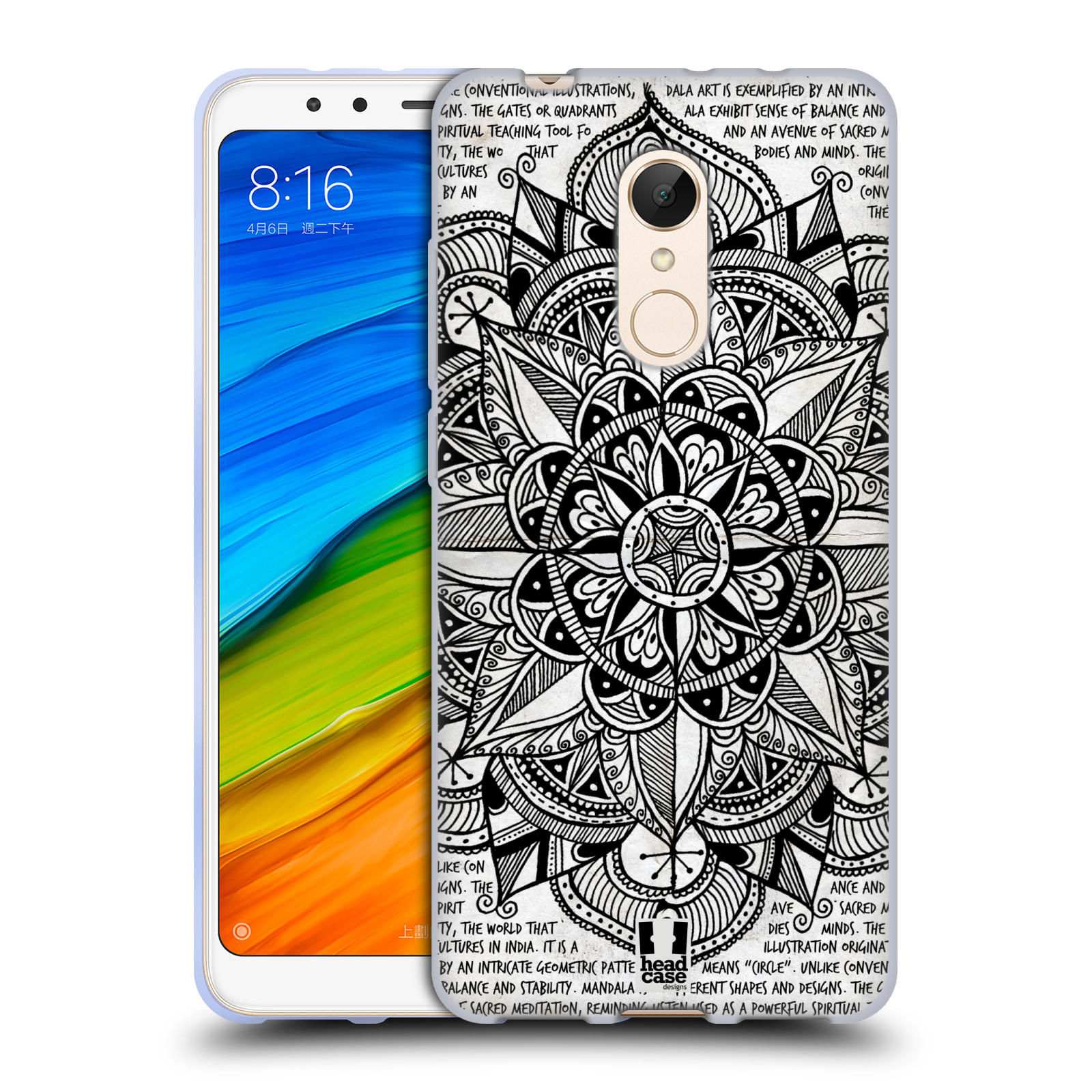 Silikonové pouzdro na mobil Xiaomi Redmi 5 - Head Case - Mandala Doodle Paper