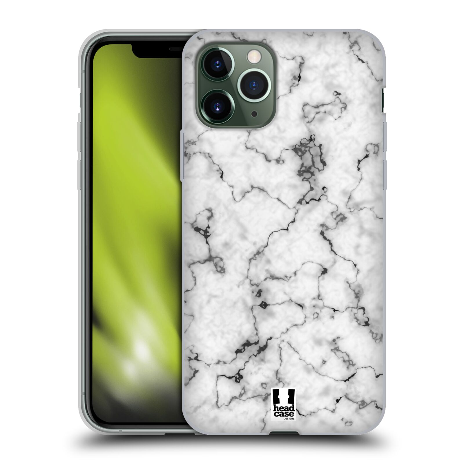 kryt na iphone 8 plus apple | Silikonové pouzdro na mobil Apple iPhone 11 Pro - Head Case - Bílý mramor