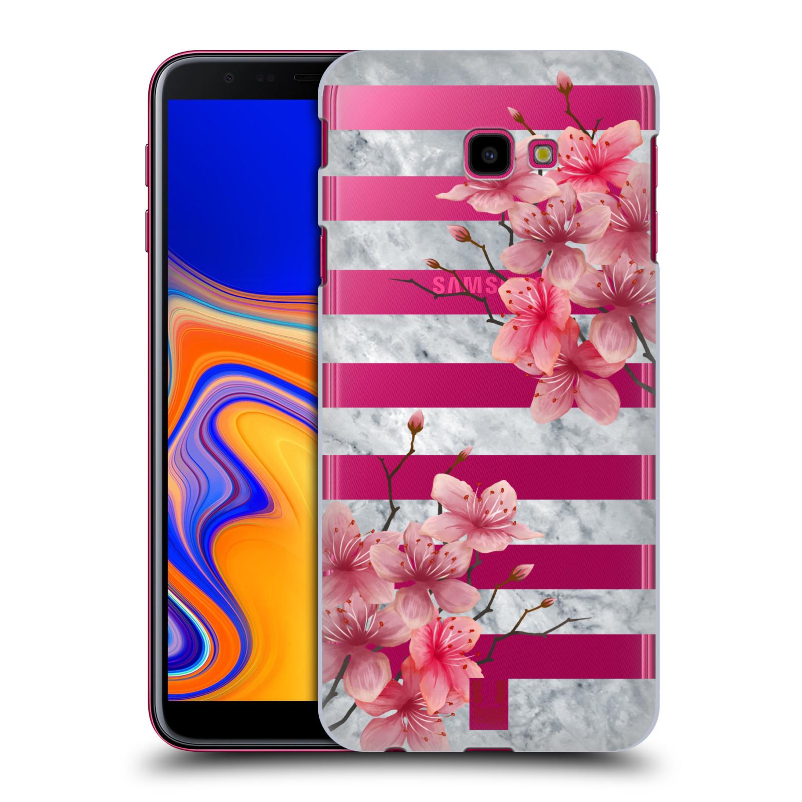 Plastové pouzdro na mobil Samsung Galaxy J4 Plus - Head Case - Kvítka a mramor