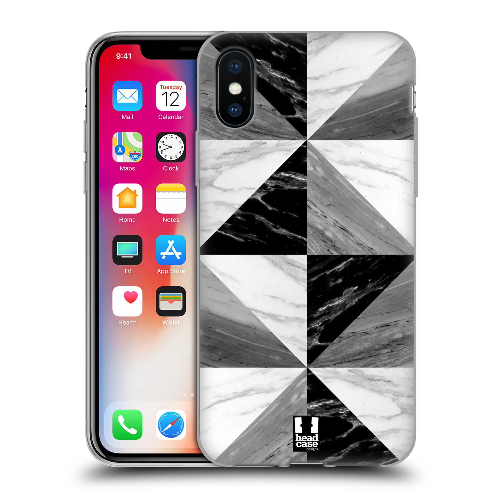 Silikonové pouzdro na mobil Apple iPhone XS - Head Case - Mramor triangl