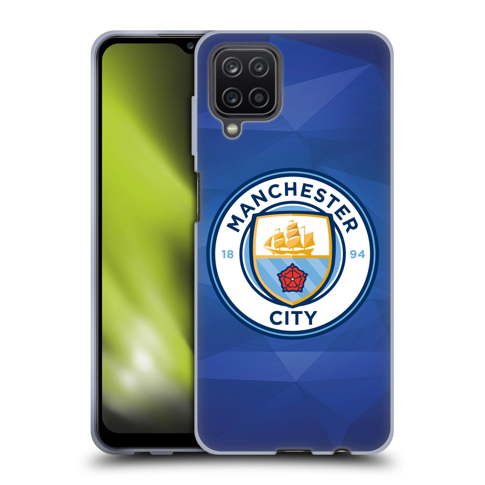 Silikonové pouzdro na mobil Samsung Galaxy A12 - Head Case - Manchester City FC - Modré nové logo