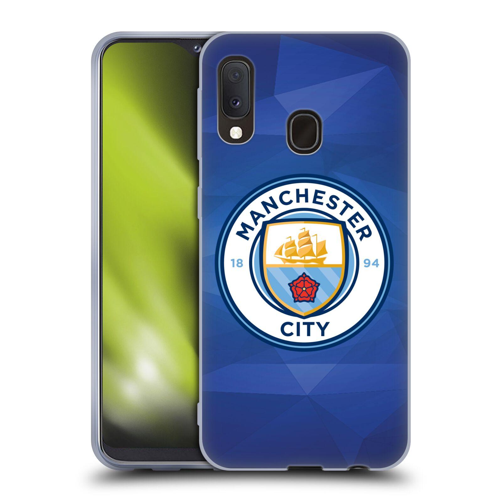 Silikonové pouzdro na mobil Samsung Galaxy A20e - Head Case - Manchester City FC - Modré nové logo