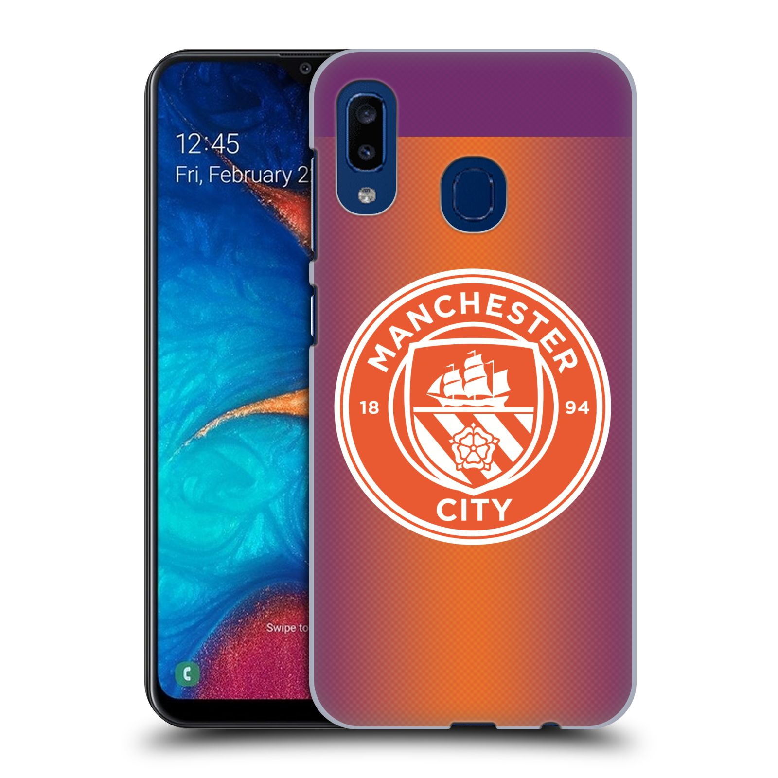 Plastové pouzdro na mobil Samsung Galaxy A20 - Head Case - Manchester City FC - Oranžové nové logo