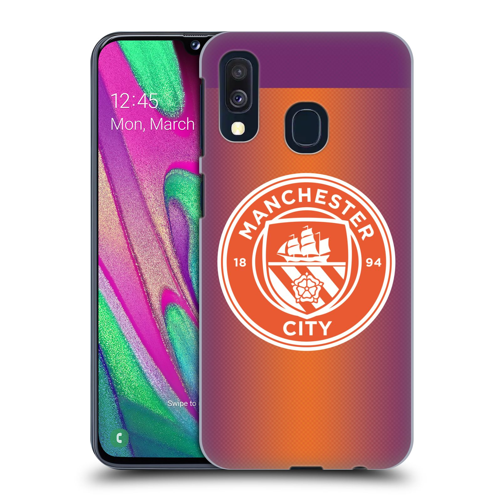 Plastové pouzdro na mobil Samsung Galaxy A40 - Head Case - Manchester City FC - Oranžové nové logo