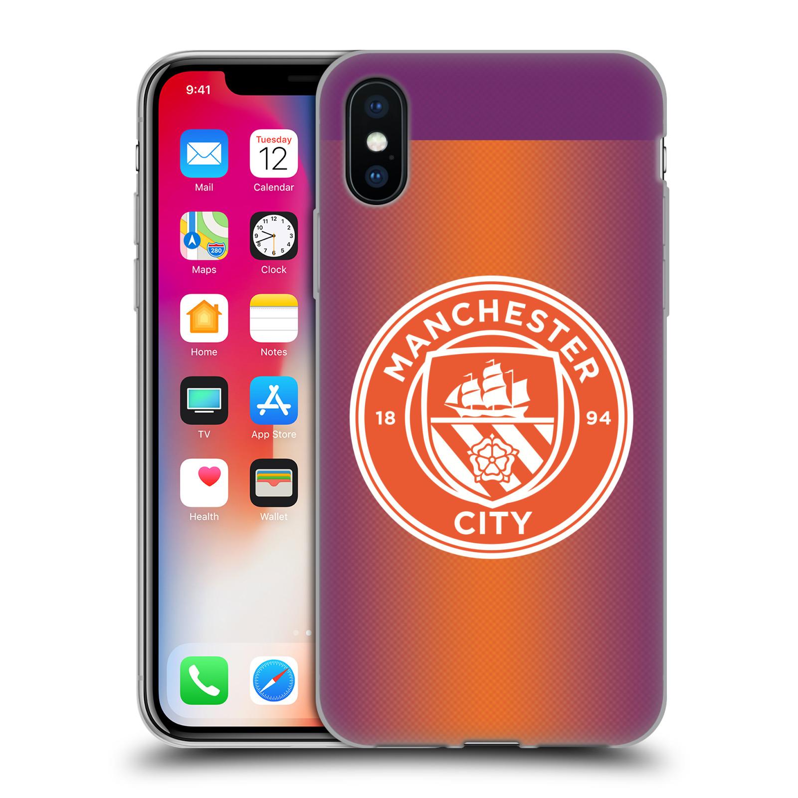 Silikonové pouzdro na mobil Apple iPhone XS - Head Case - Manchester City FC - Oranžové nové logo