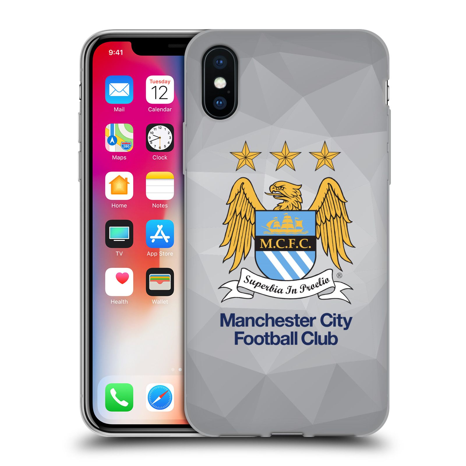 Silikonové pouzdro na mobil Apple iPhone XS - Head Case - Manchester City FC - Football Club