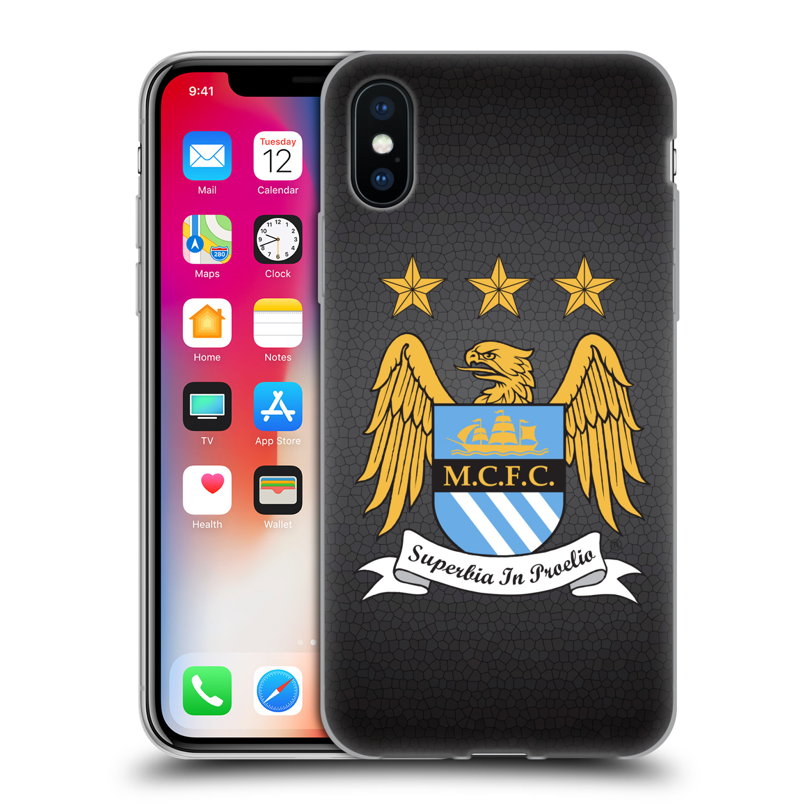 Silikonové pouzdro na mobil Apple iPhone XS - Head Case - Manchester City FC - Superbia In Proelio