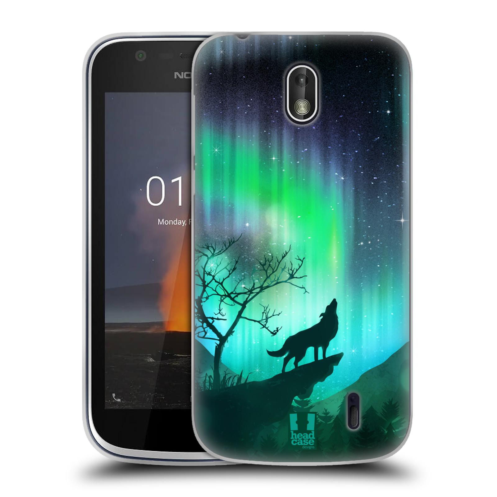 Silikonové pouzdro na mobil Nokia 1 - Head Case - POLÁRNÍ ZÁŘE VLK (Silikonový kryt či obal na mobilní telefon Nokia 1 Dual SIM s motivem POLÁRNÍ ZÁŘE VLK)