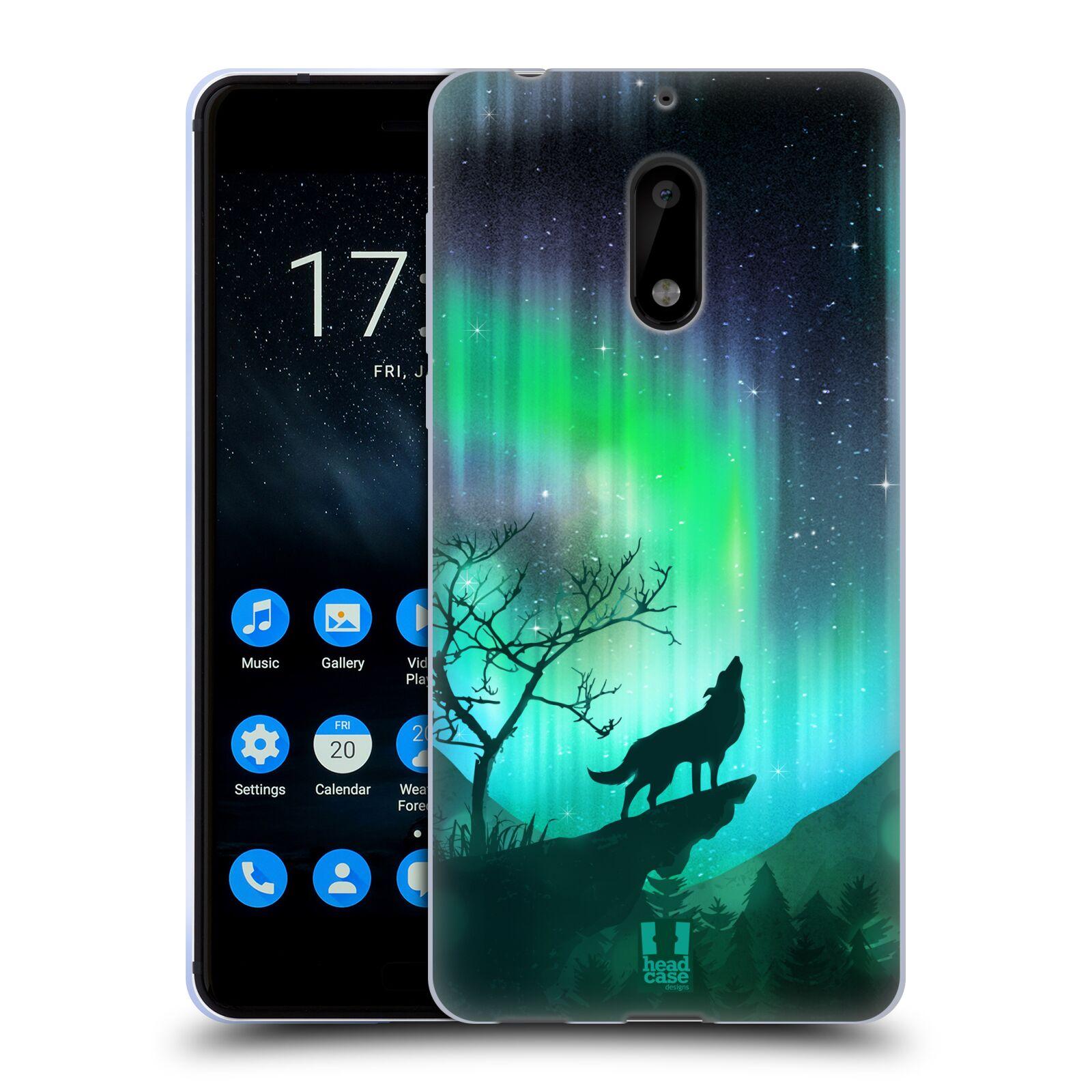 Silikonové pouzdro na mobil Nokia 6 - Head Case - POLÁRNÍ ZÁŘE VLK (Silikonový kryt či obal na mobilní telefon Nokia 6 s motivem POLÁRNÍ ZÁŘE VLK)