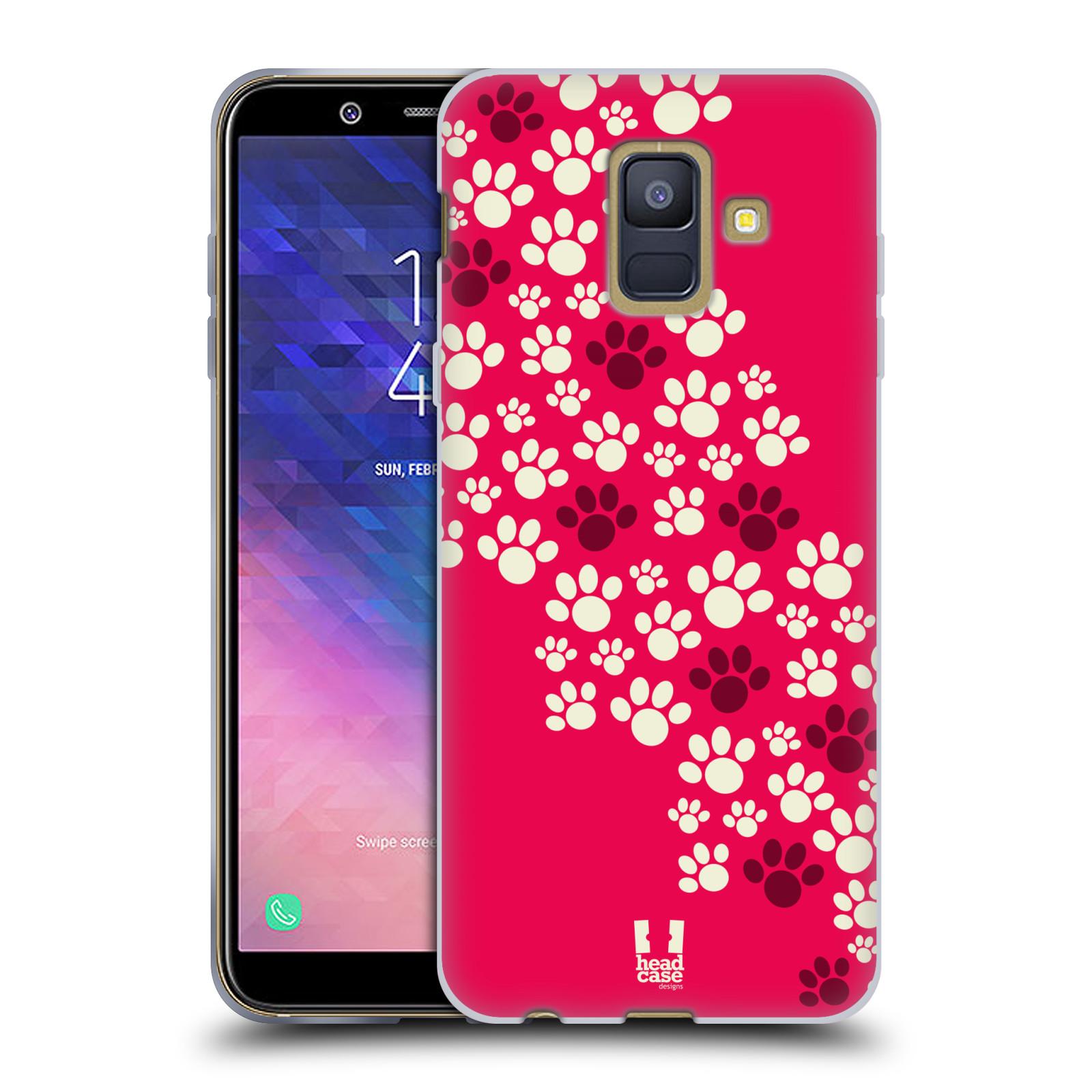 Silikonové pouzdro na mobil Samsung Galaxy A6 (2018) - Head Case - TLAPKY RŮŽOVÉ