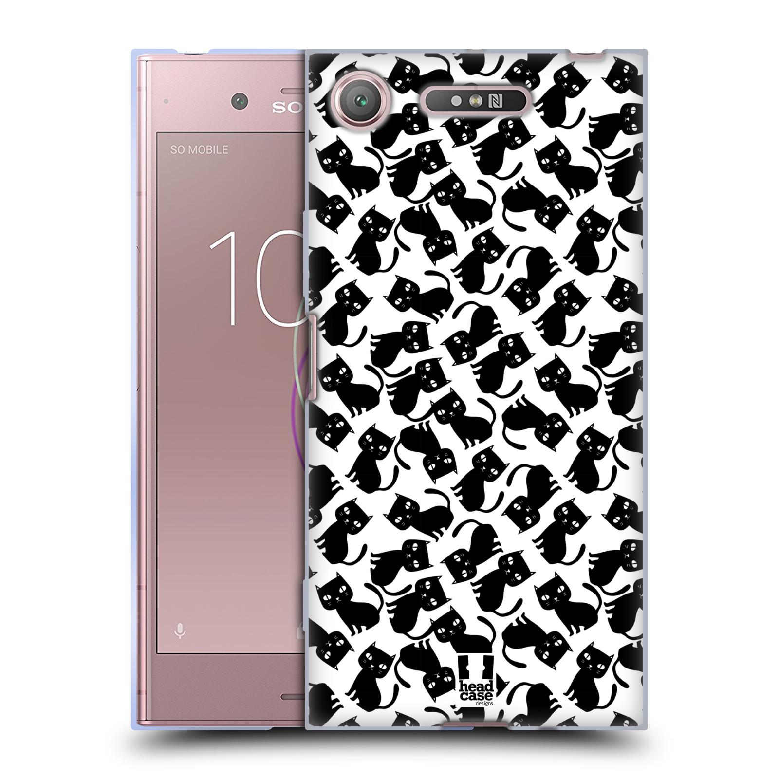 Silikonové pouzdro na mobil Sony Xperia XZ1 - Head Case - KOČKY Black Pattern (Silikonový kryt či obal na mobilní telefon Sony Xperia XZ1 (G8342 Dual Sim / G8341 Single Sim) s motivem KOČKY Black Pattern)