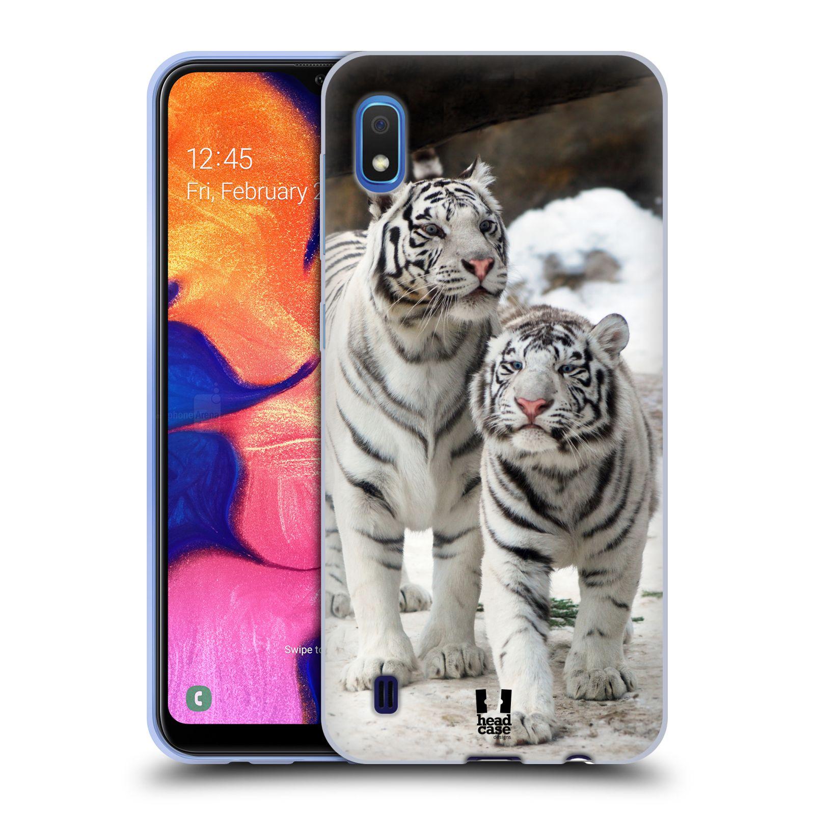 Silikonové pouzdro na mobil Samsung Galaxy A10 - Head Case - BÍLÍ TYGŘI