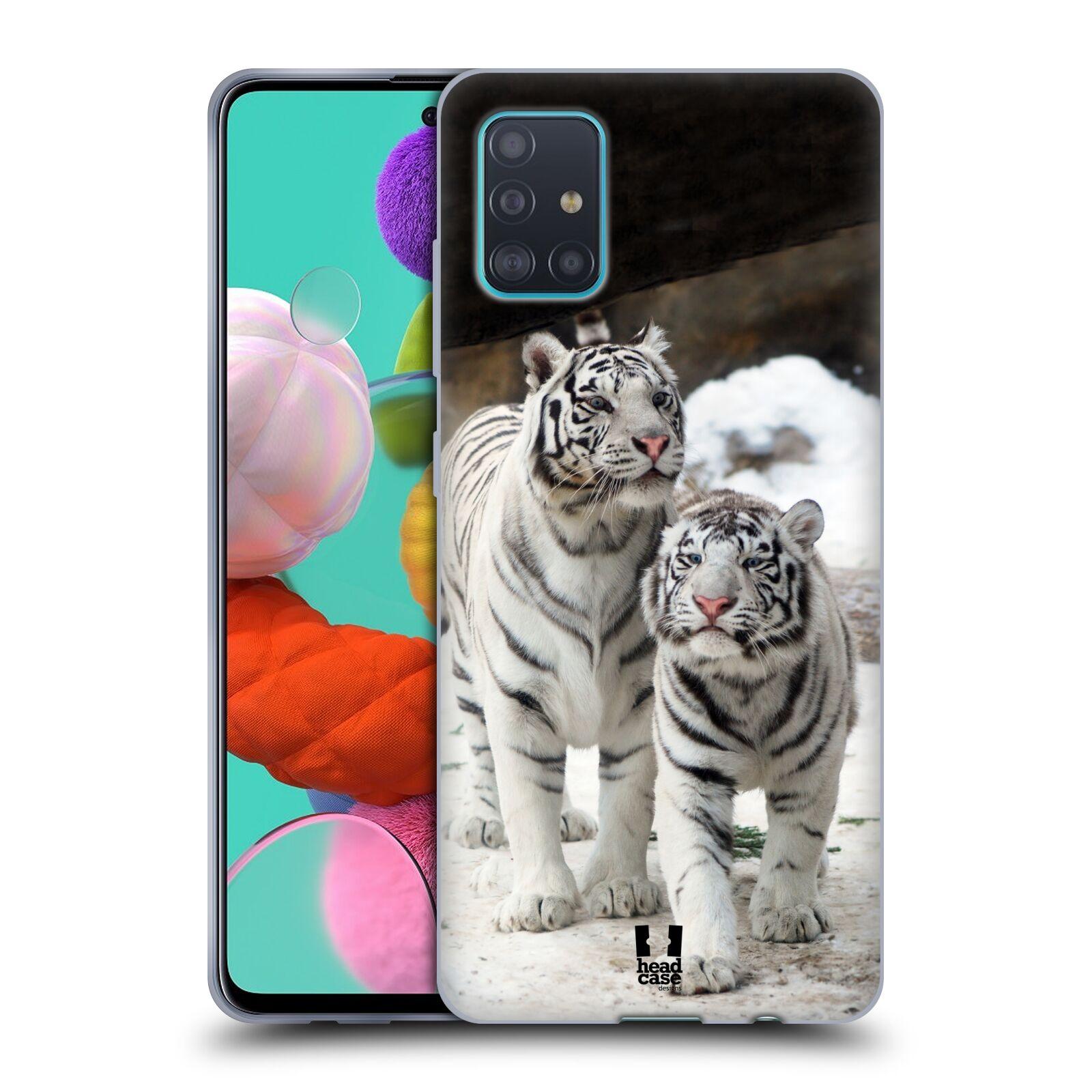 Silikonové pouzdro na mobil Samsung Galaxy A51 - Head Case - BÍLÍ TYGŘI