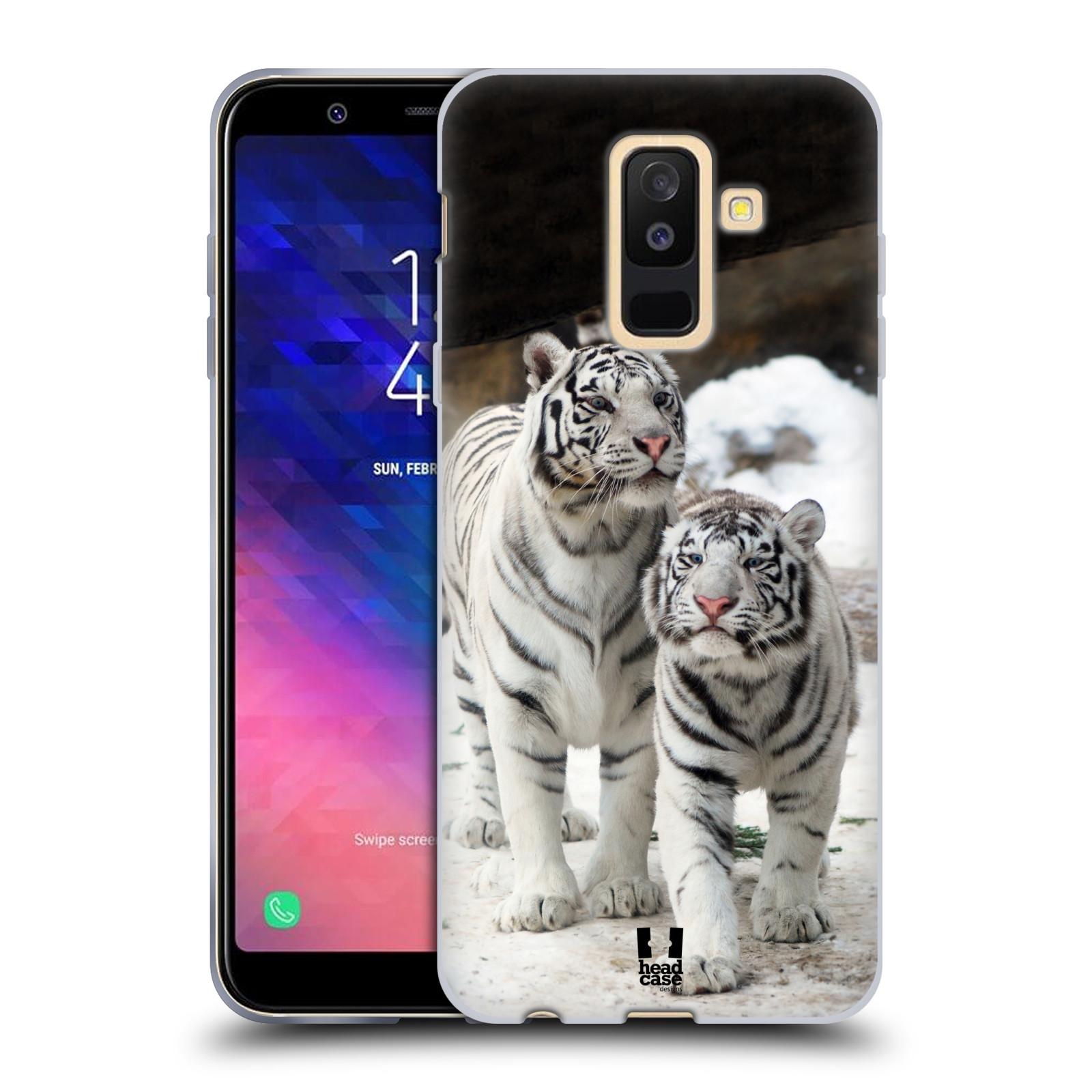 Silikonové pouzdro na mobil Samsung Galaxy A6 Plus (2018) - Head Case - BÍLÍ TYGŘI