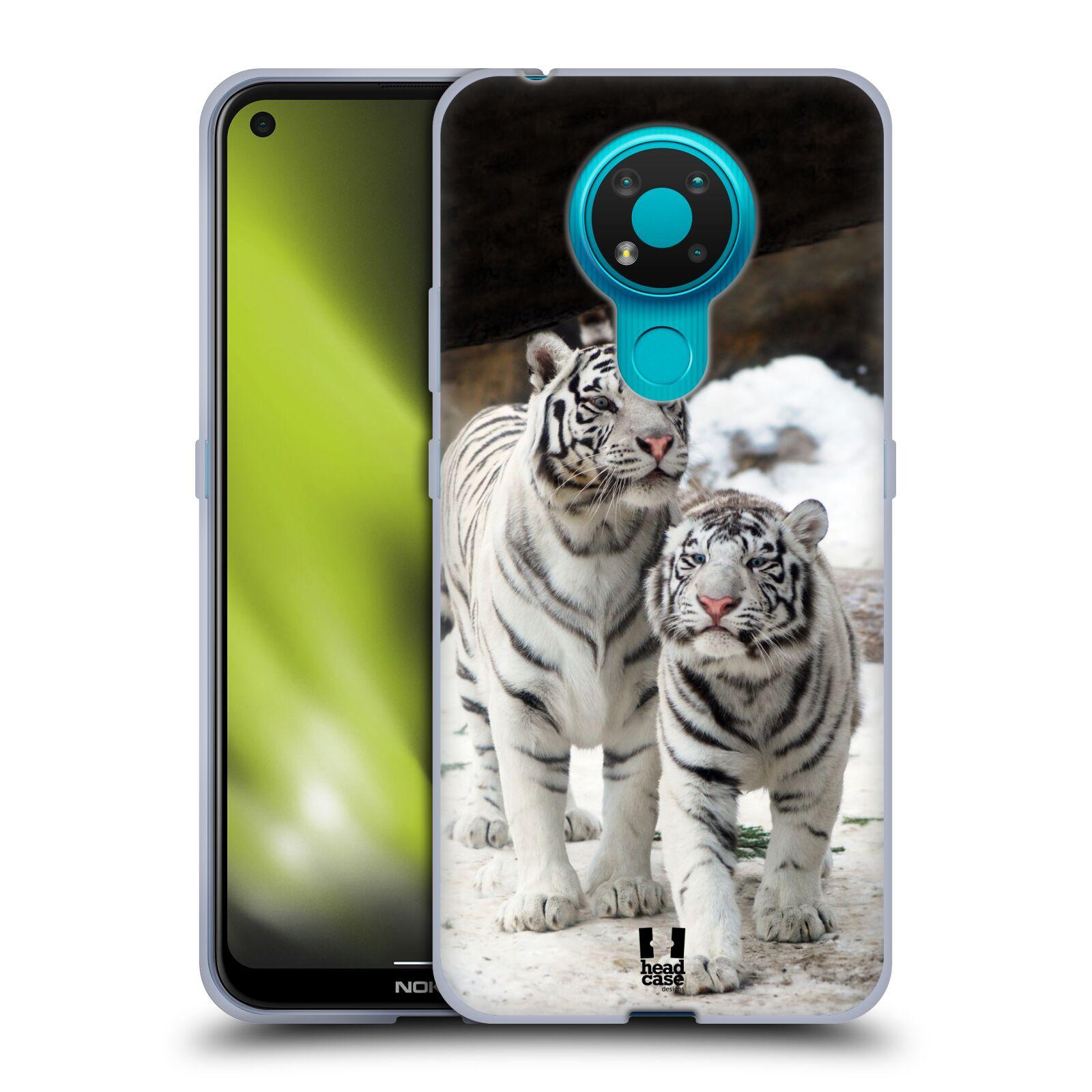 Silikonové pouzdro na mobil Nokia 3.4 - Head Case - BÍLÍ TYGŘI