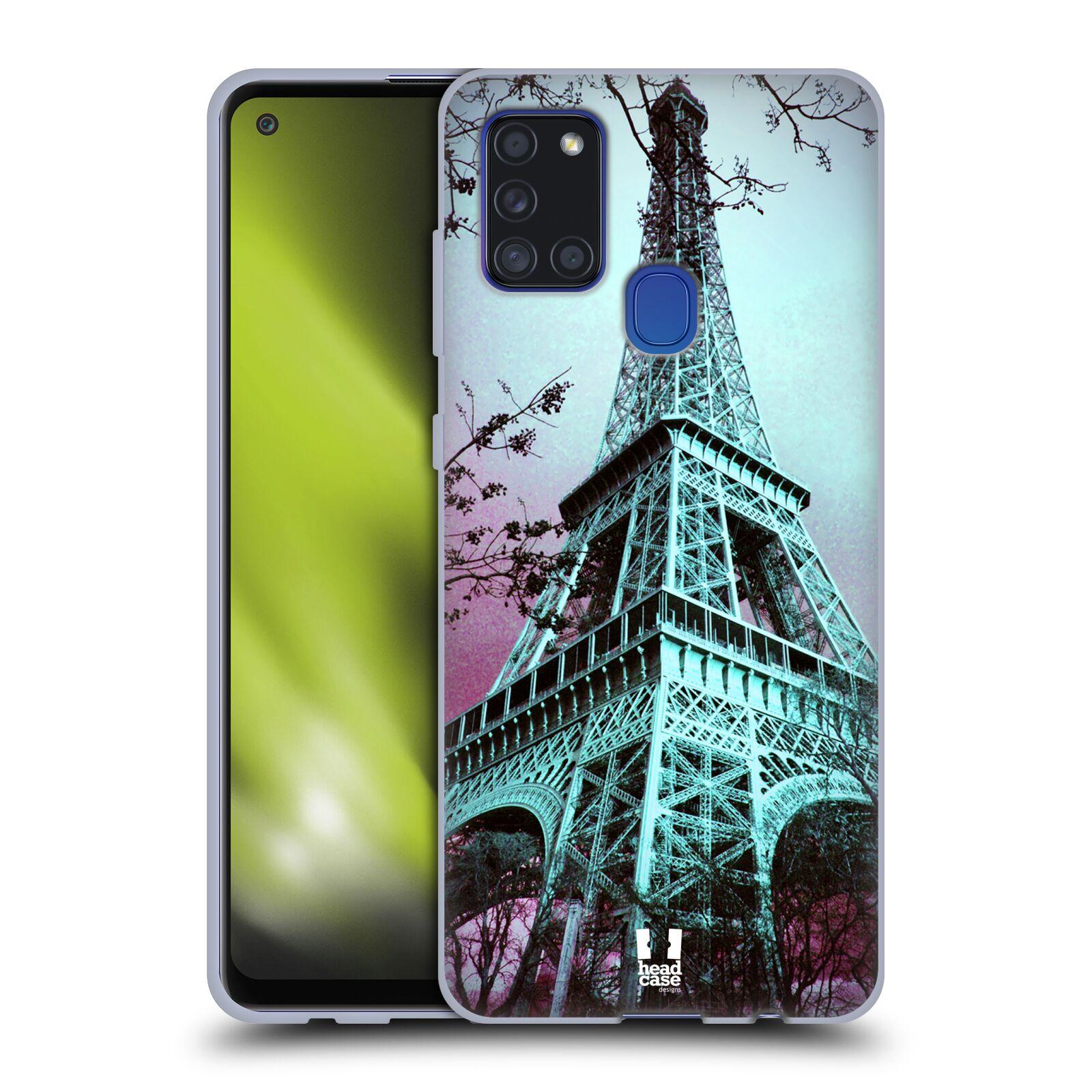 Silikonové pouzdro na mobil Samsung Galaxy A21s - Head Case -  RŮŽOVOMODRÁ AIFELOVKA