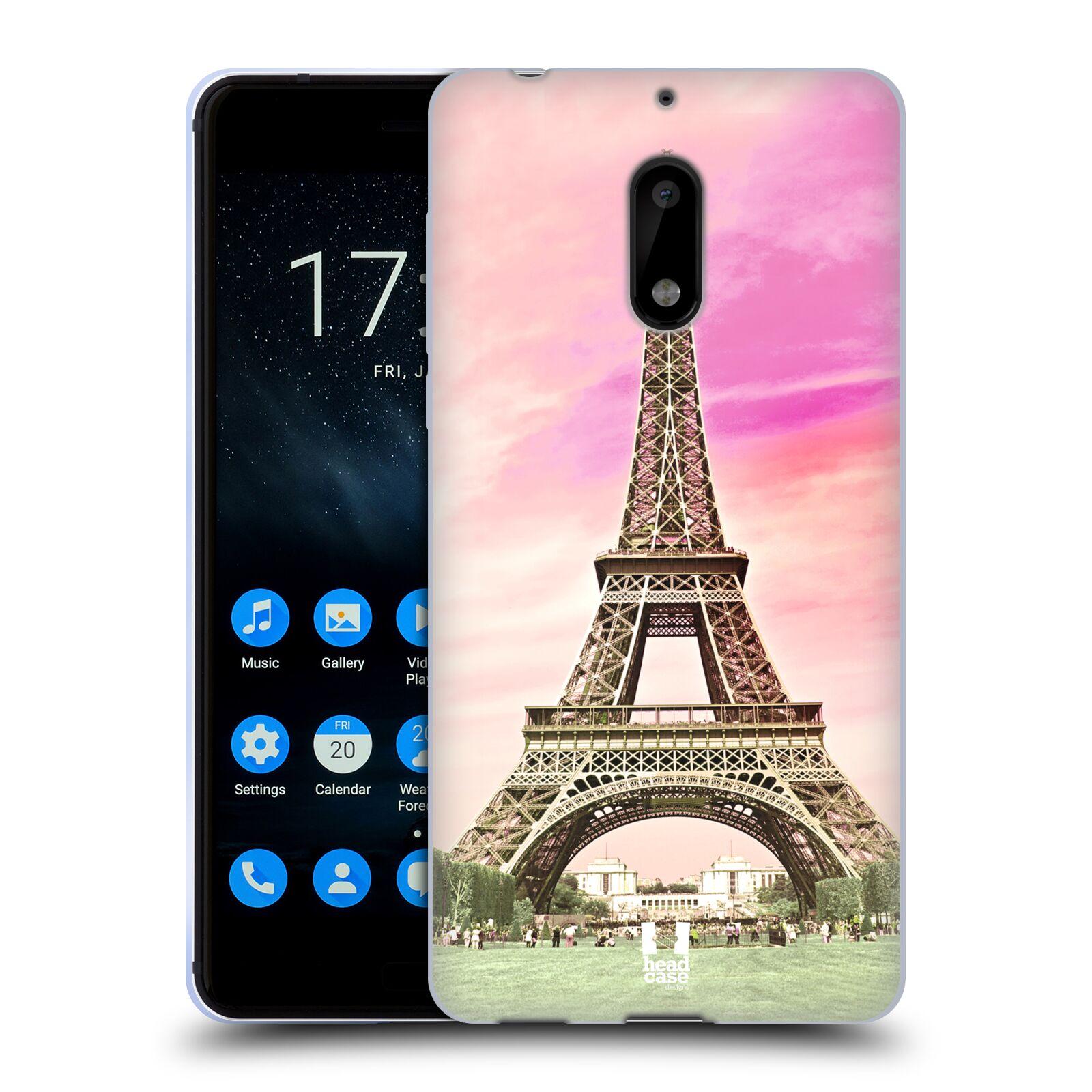 Silikonové pouzdro na mobil Nokia 6 - Head Case - RŮŽOVÁ AIFELOVKA (Silikonový kryt či obal na mobilní telefon Nokia 6 s motivem RŮŽOVÁ AIFELOVKA)