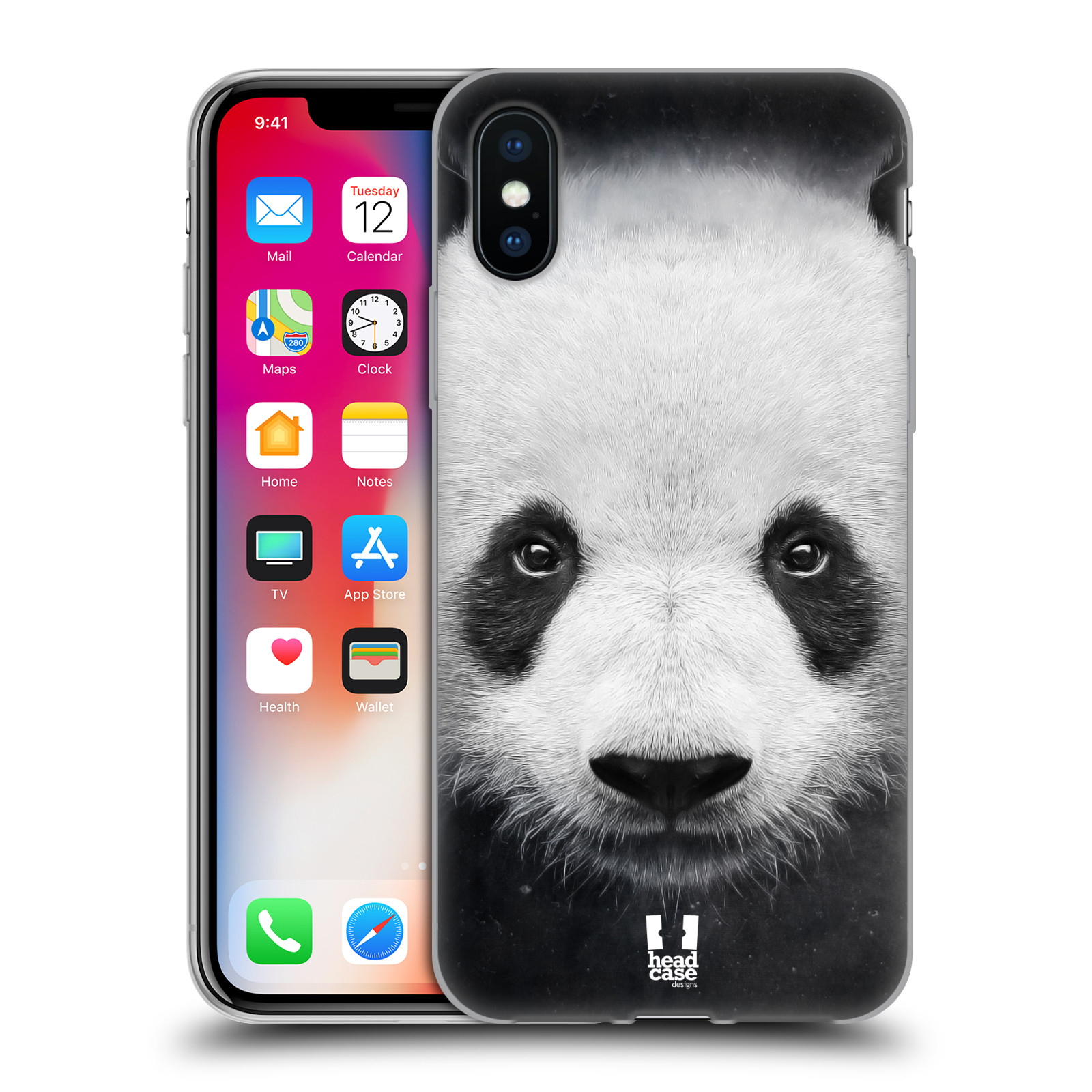 Silikonové pouzdro na mobil Apple iPhone XS - Head Case - TVÁŘ PANDA