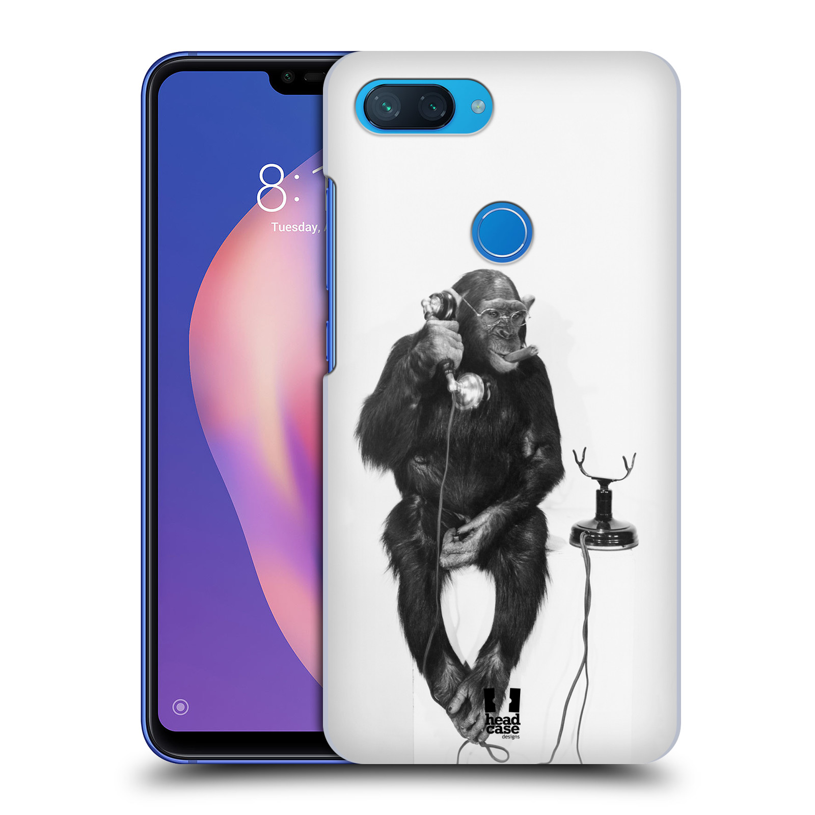 Plastové pouzdro na mobil Xiaomi Mi 8 Lite - Head Case - OPIČÁK S TELEFONEM