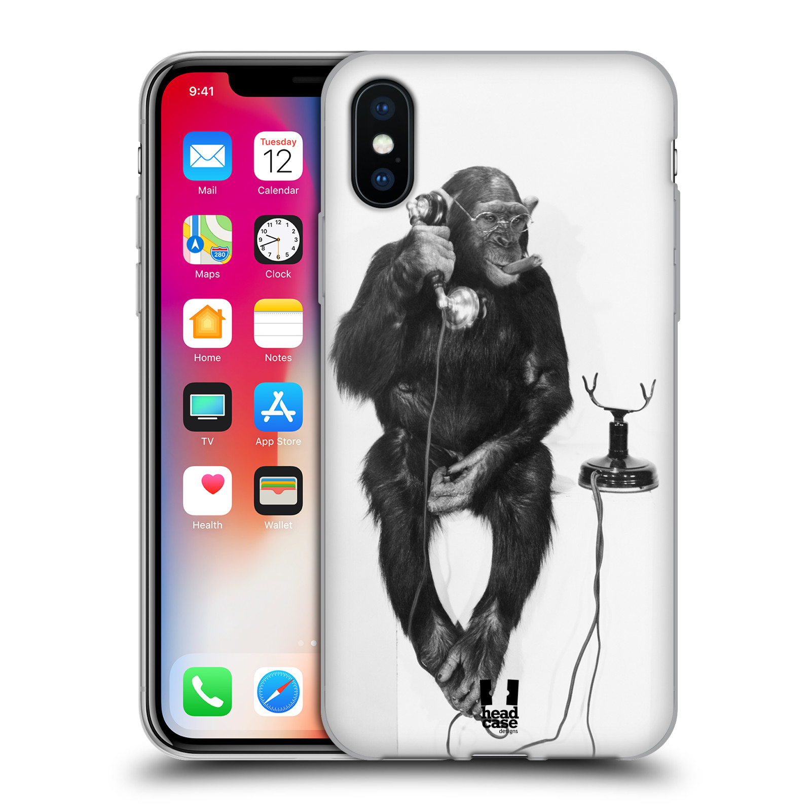 Silikonové pouzdro na mobil Apple iPhone XS - Head Case - OPIČÁK S TELEFONEM