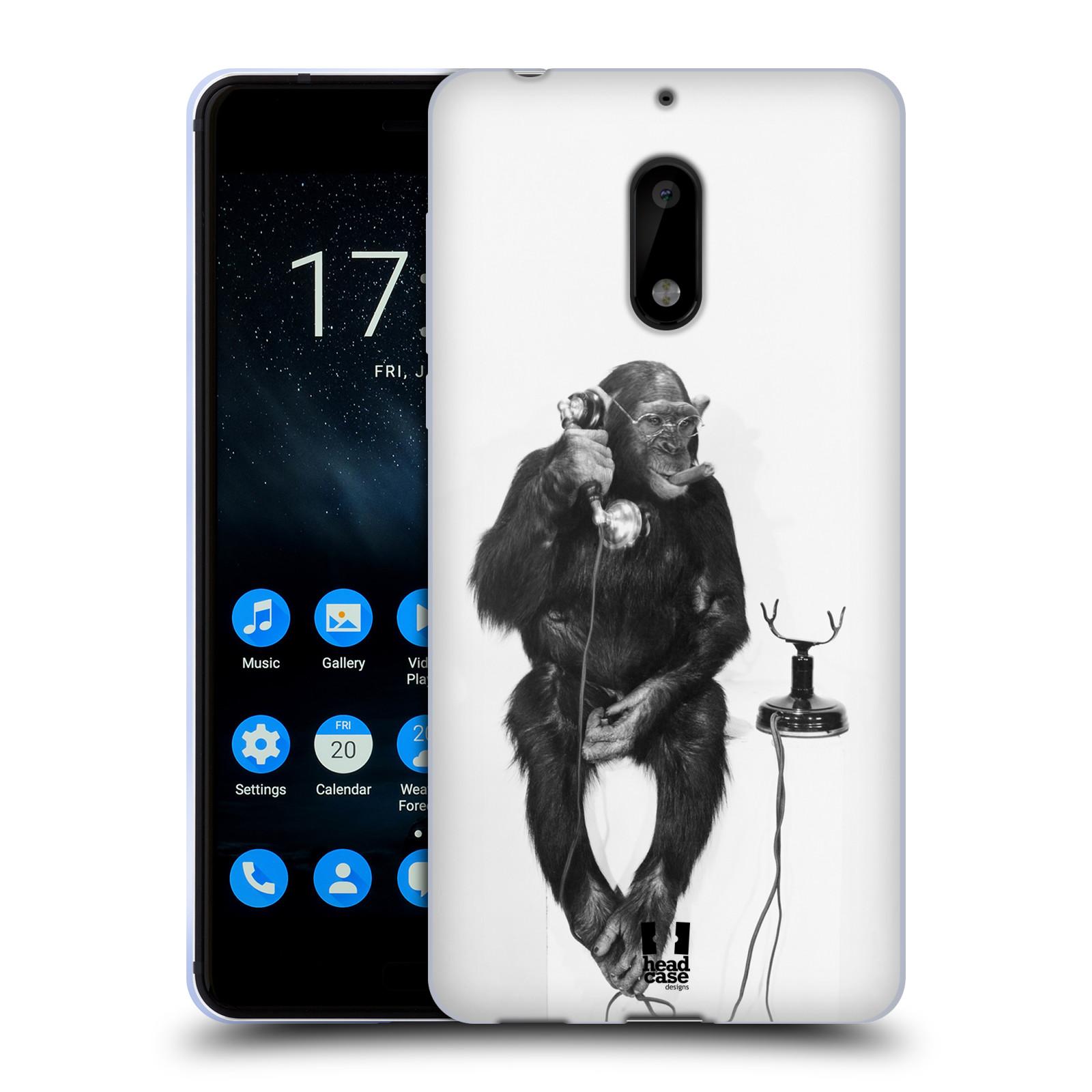 Silikonové pouzdro na mobil Nokia 6 - Head Case - OPIČÁK S TELEFONEM (Silikonový kryt či obal na mobilní telefon Nokia 6 s motivem OPIČÁK S TELEFONEM)