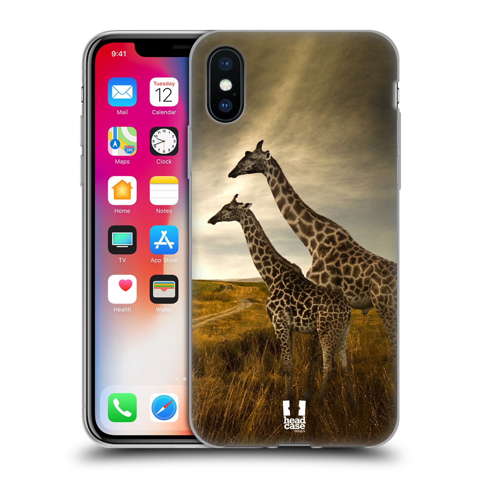 Silikonové pouzdro na mobil Apple iPhone XS - Head Case - DIVOČINA – ŽIRAFY