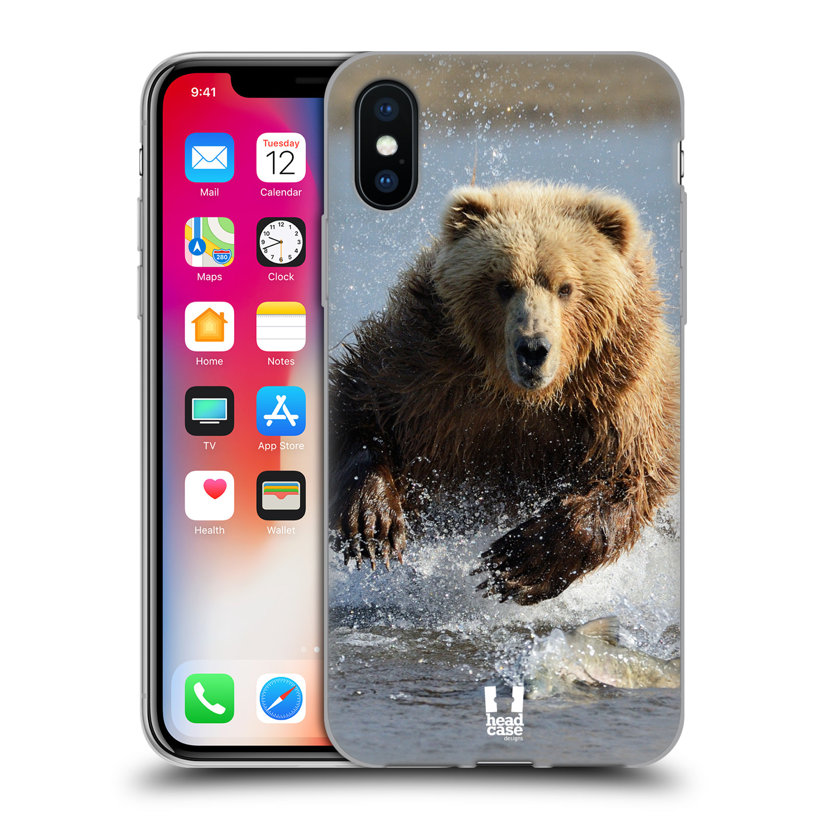 Silikonové pouzdro na mobil Apple iPhone XS - Head Case - DIVOČINA – GRIZZLY