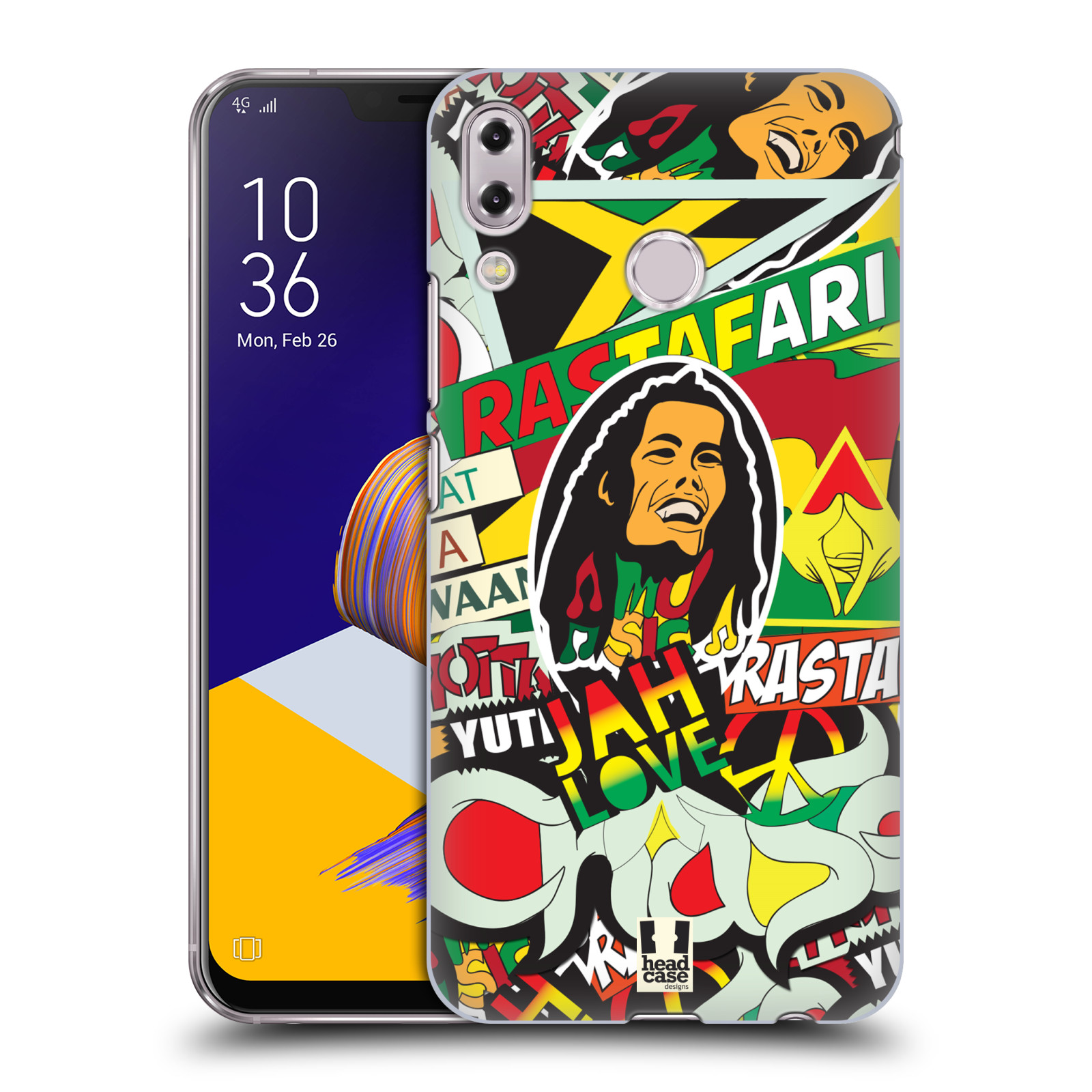Plastové pouzdro na mobil Asus Zenfone 5z ZS620KL - Head Case - RASTA (Plastový kryt či obal na mobilní telefon Asus Zenfone 5z (ZS620KL) s motivem RASTA )