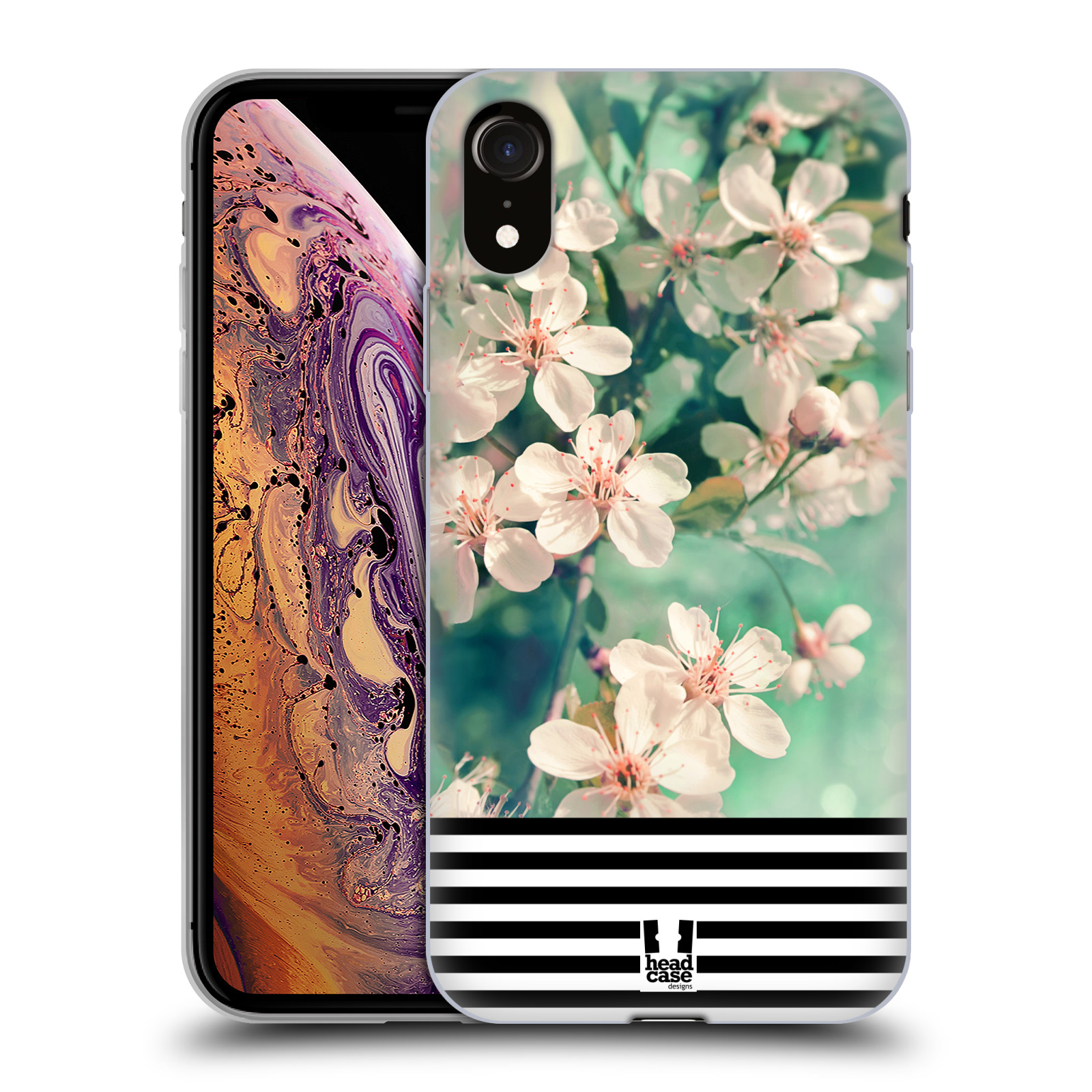 Silikonové pouzdro na mobil Apple iPhone XR - Head Case - MIX FLORAL STRIPES