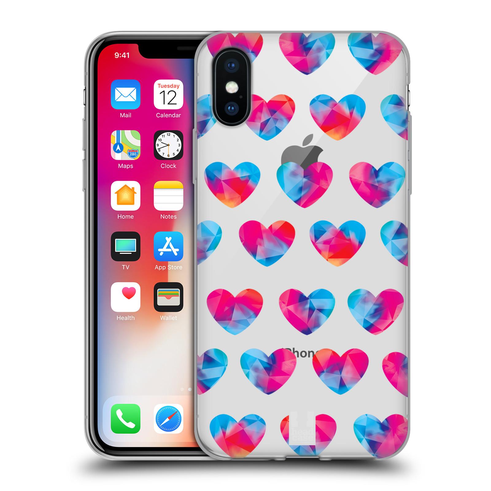Silikonové pouzdro na mobil Apple iPhone XS - Head Case - Srdíčka hrající barvami