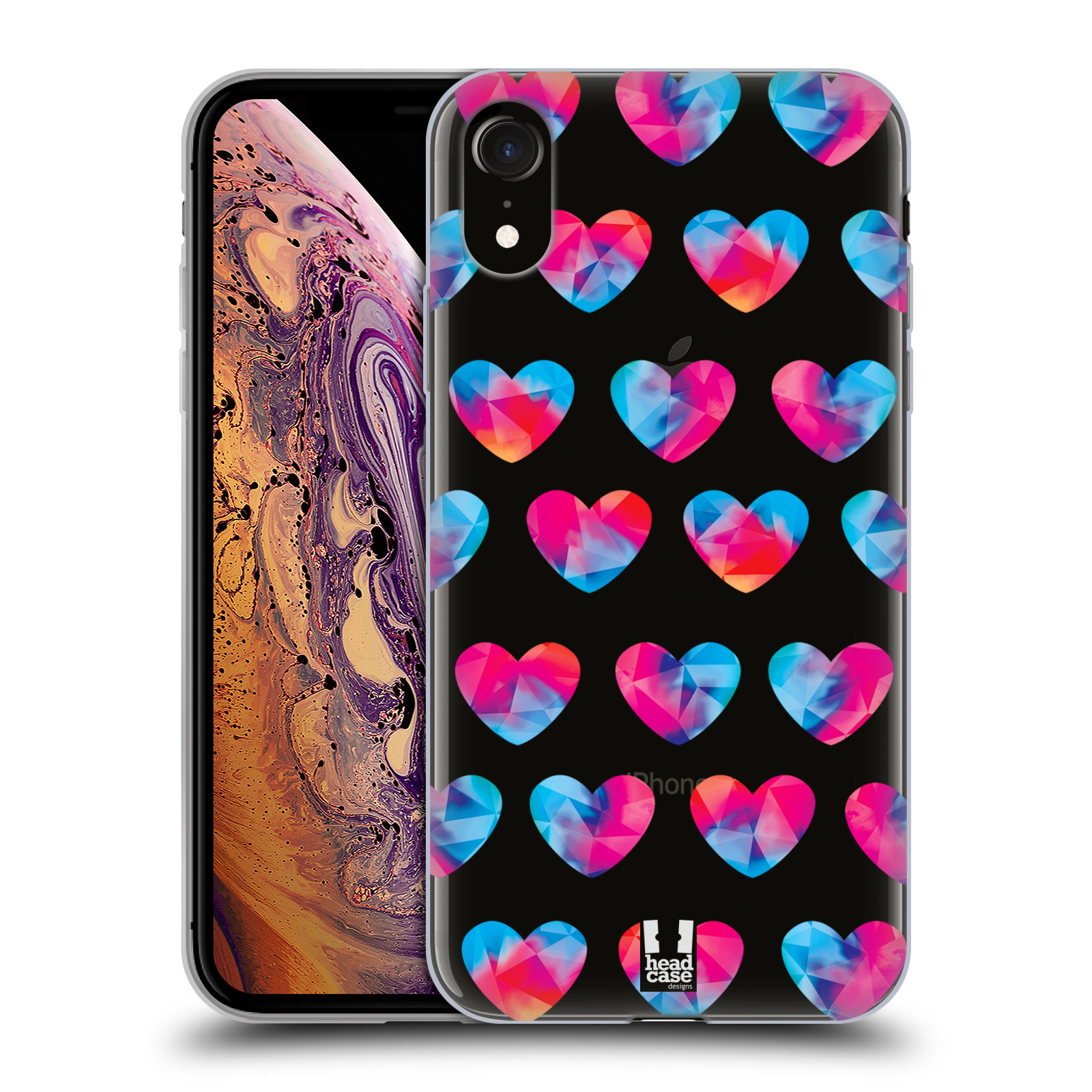 Silikonové pouzdro na mobil Apple iPhone XR - Head Case - Srdíčka hrající barvami