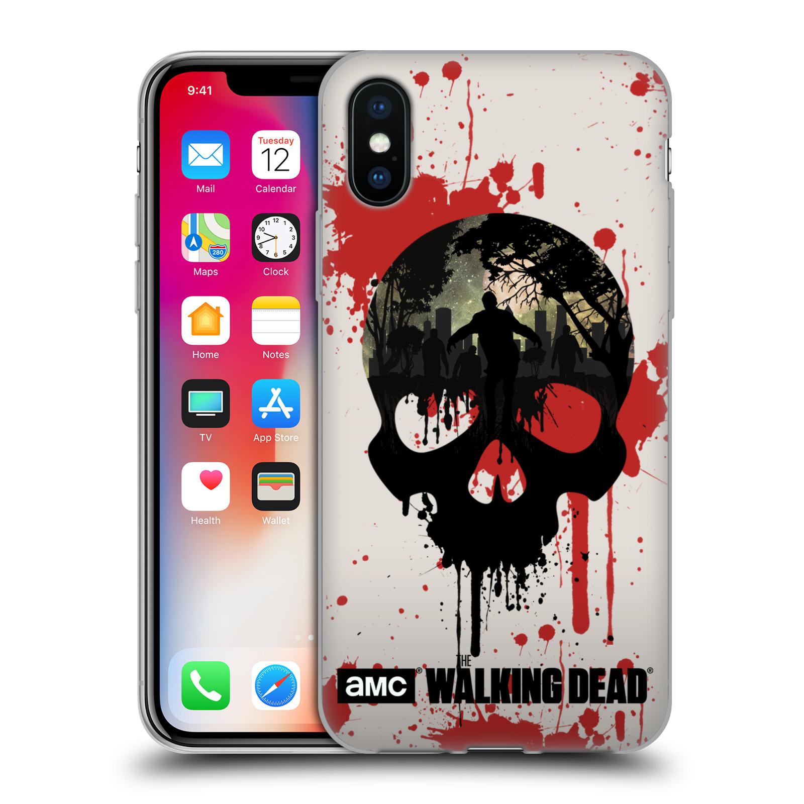 Silikonové pouzdro na mobil Apple iPhone X - Head Case - Živí mrtví - Lebka