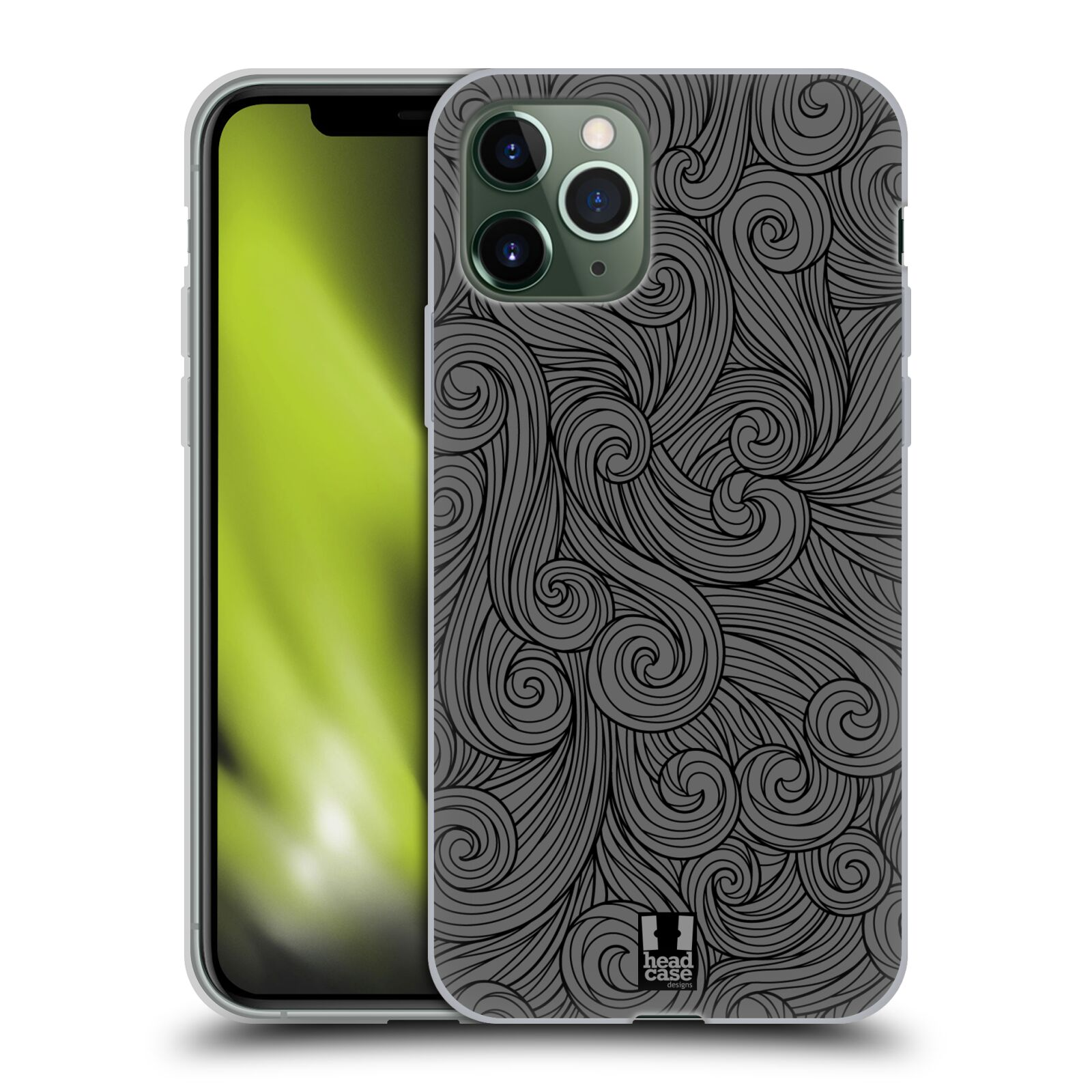 iphone 10 obal | Silikonové pouzdro na mobil Apple iPhone 11 Pro - Head Case - Dark Grey Swirls