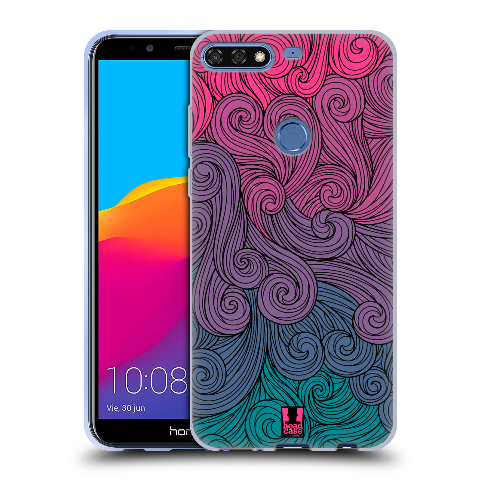 Silikonové pouzdro na mobil Huawei Y7 Prime (2018) - Head Case - Swirls Hot Pink